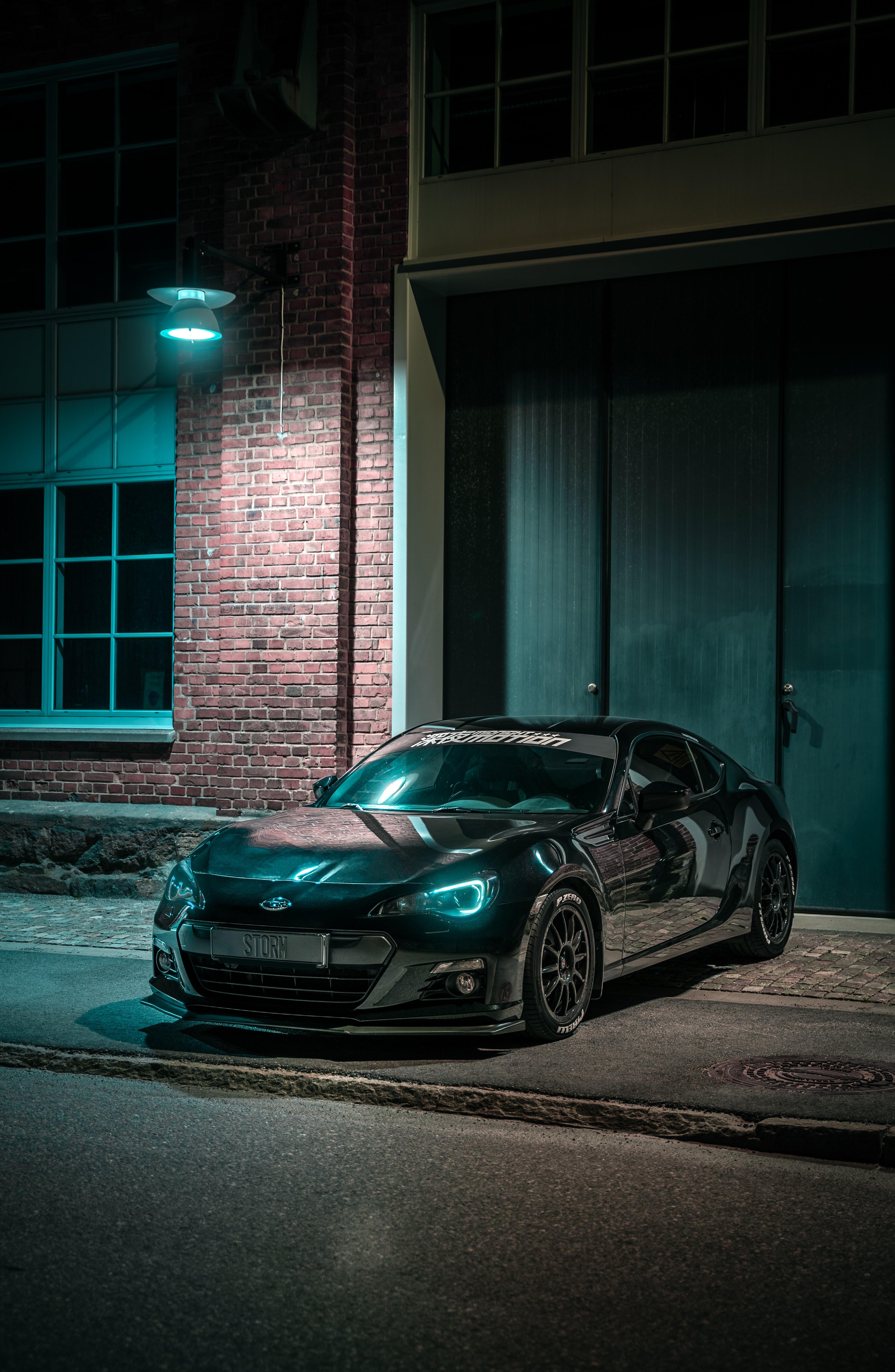 110766 Hintergrundbild herunterladen Auto, Übernachtung, Subaru, Cars, Scheinen, Licht, Wagen, Das Schwarze - Bildschirmschoner und Bilder kostenlos