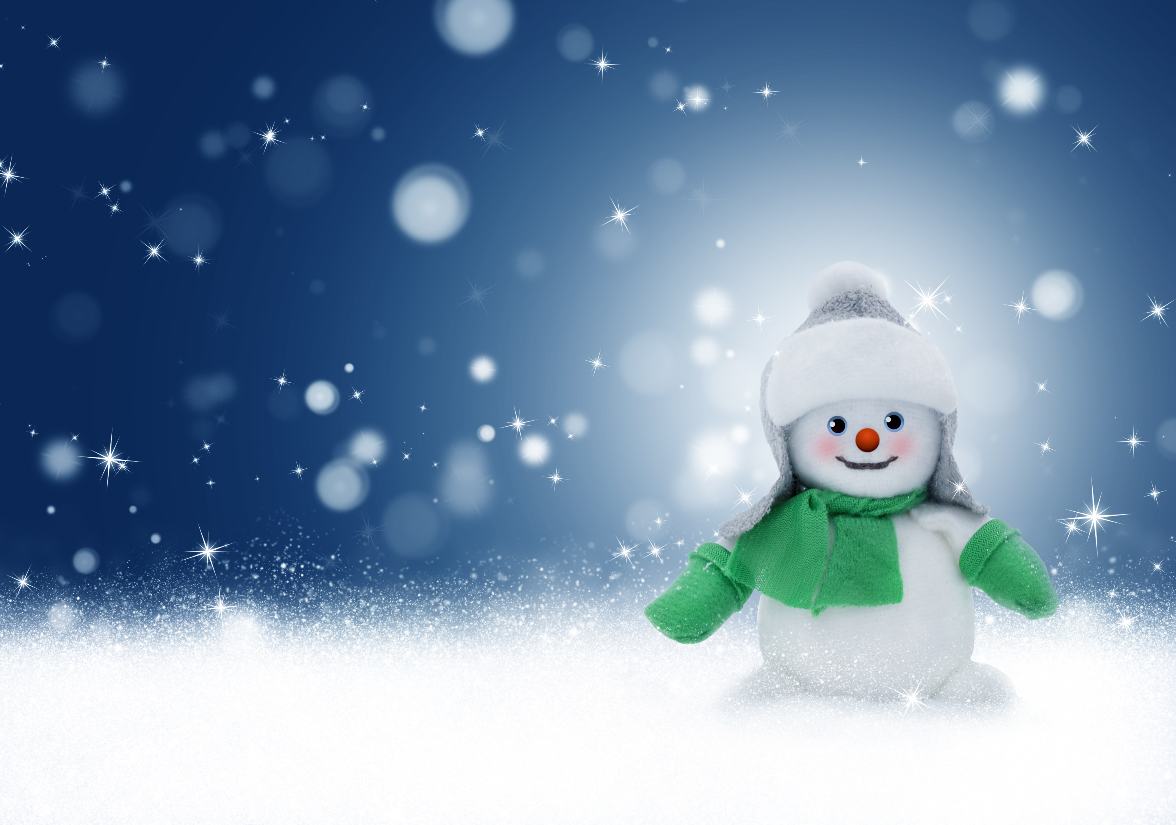 81685 download wallpaper Christmas, Holidays, New Year, Snowman, Glare, Toy, Bokeh, Boquet screensavers and pictures for free