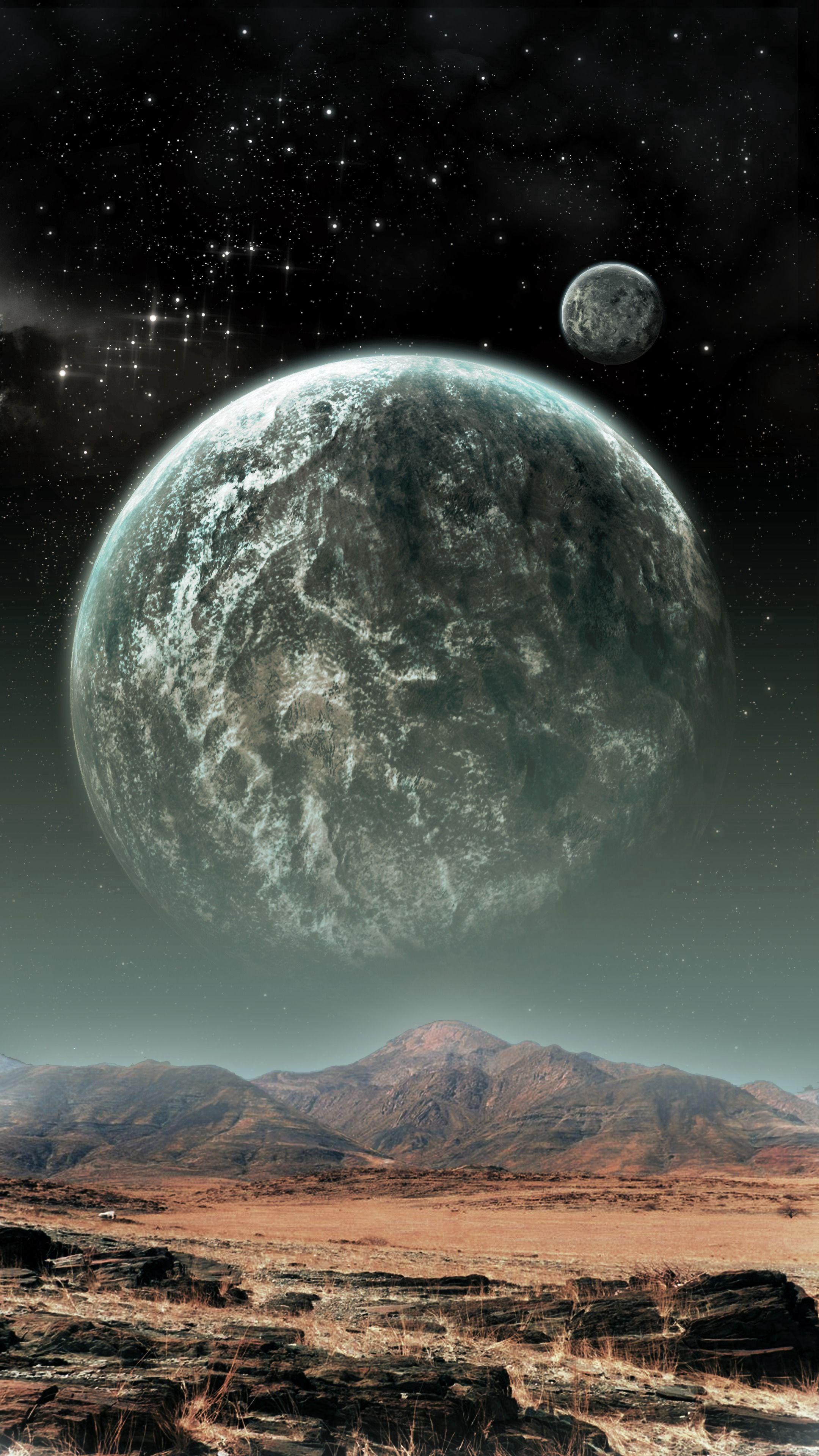 55128 скачать обои Планеты, Космос, Горы, Звезды, Разное, Иллюзия - заставки и картинки бесплатно