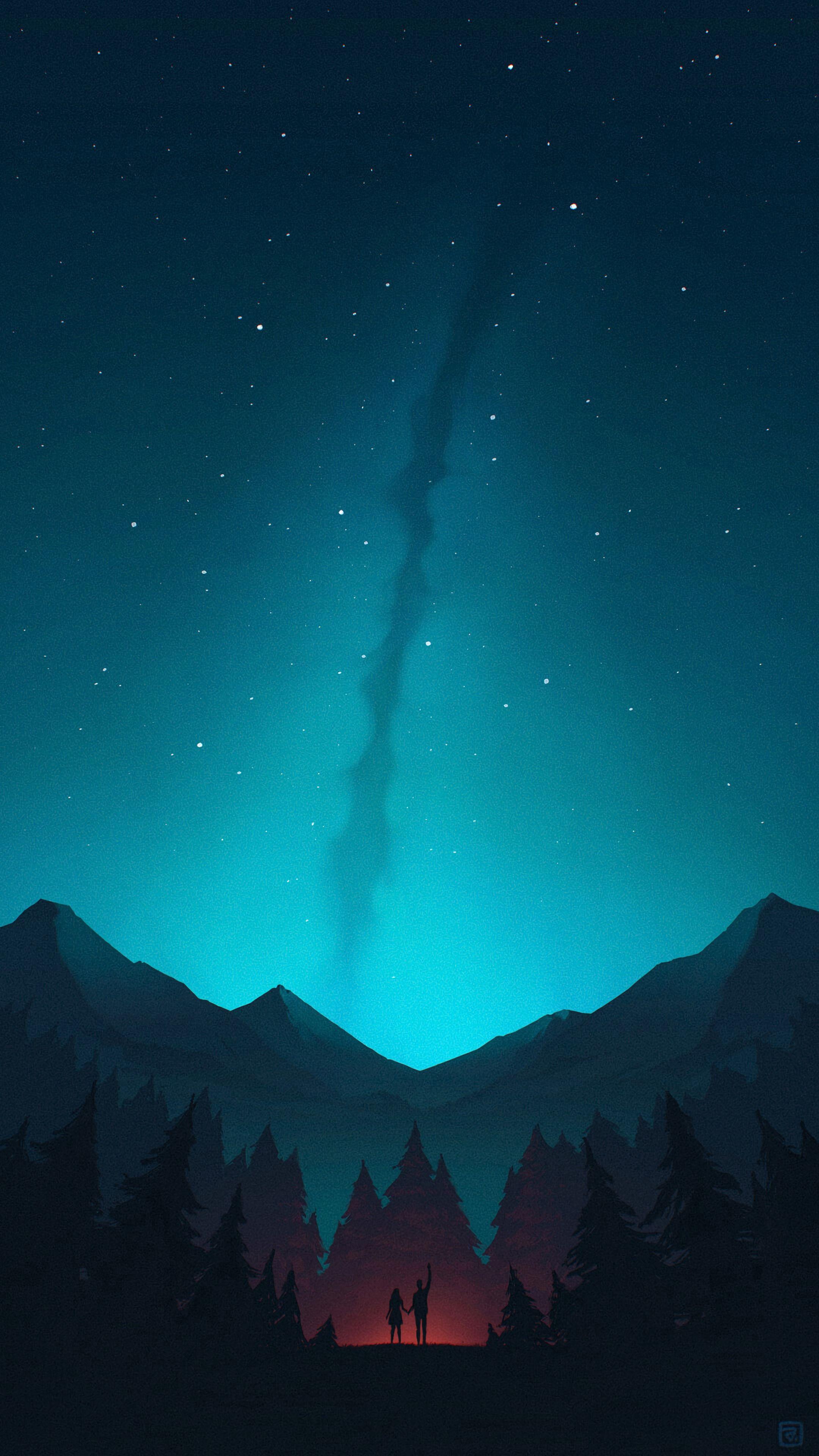 111755 скачать обои Арт, Горы, Ночь, Лес, Силуэты, Звездное Небо - заставки и картинки бесплатно