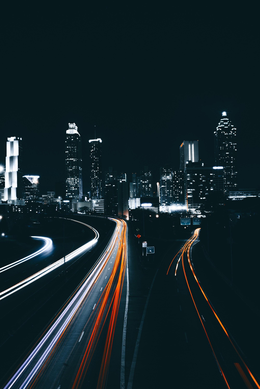 70772 Заставки и Обои Дорога на телефон. Скачать Дорога, Города, Ночь, Небоскребы, Сша, Атланта картинки бесплатно