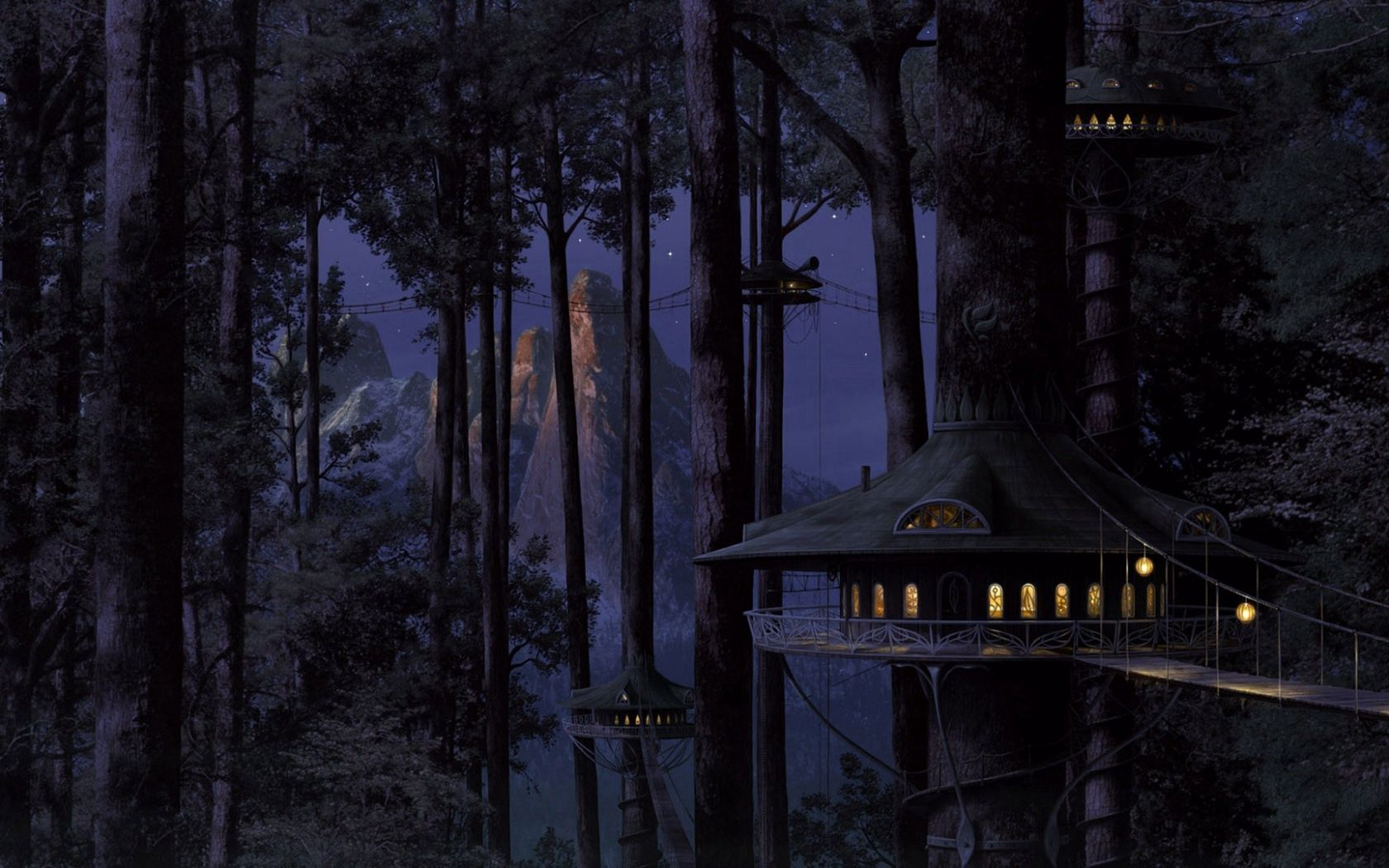 105567 download wallpaper Fantasy, House, Wood, Tree, Shine, Light, Forest, Night screensavers and pictures for free