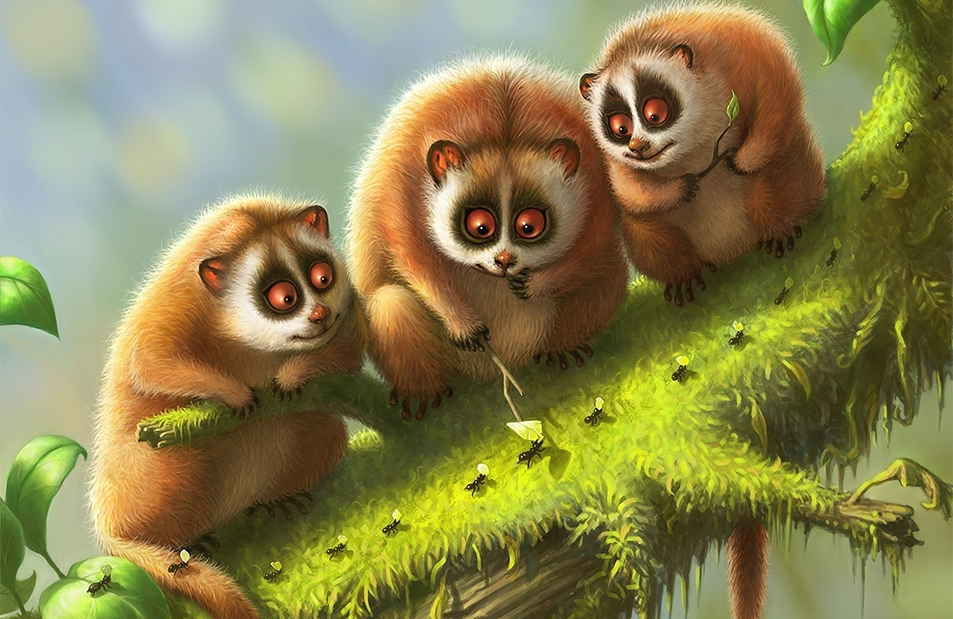104120 download wallpaper Art, Lemur, Branch, Animals, Moss, Lemurs screensavers and pictures for free