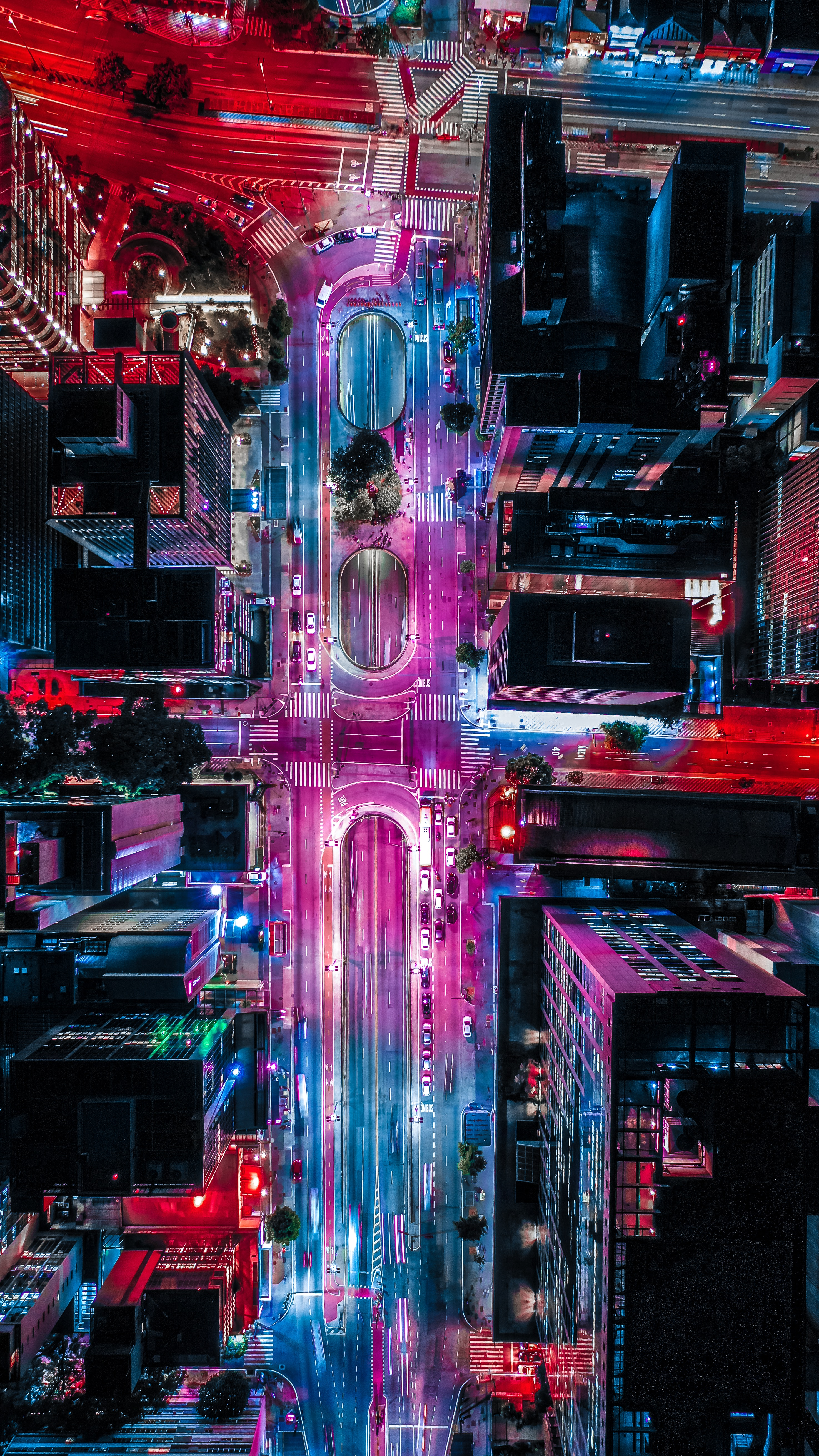 97151 Screensavers and Wallpapers Roads for phone. Download Cities, Roads, City, Building, View From Above, Backlight, Illumination pictures for free