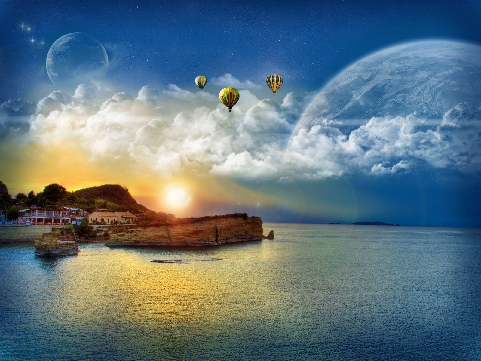 3264 скачать обои Пейзаж, Вода, Небо, Солнце - заставки и картинки бесплатно
