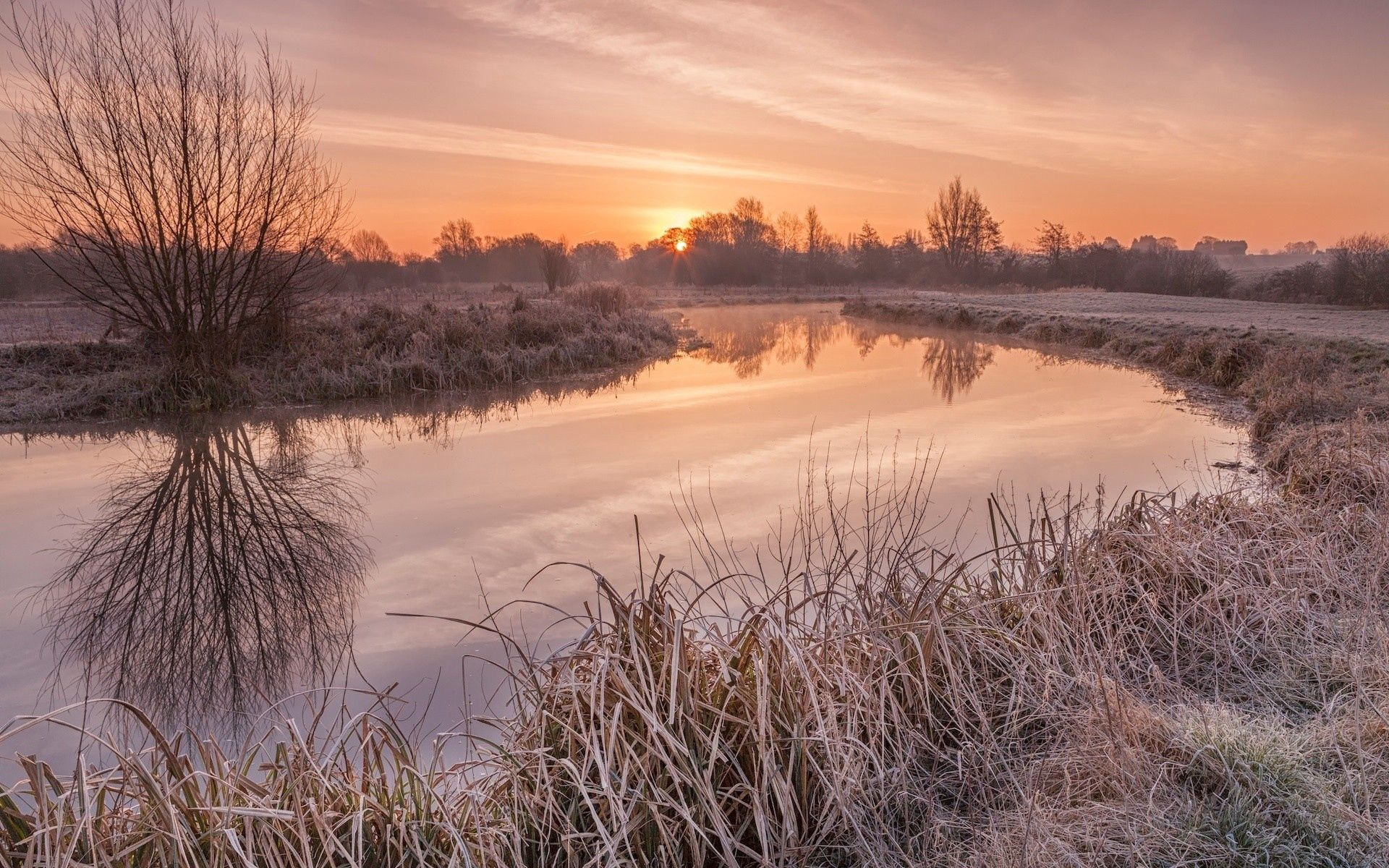 134548 Screensavers and Wallpapers Handsomely for phone. Download Nature, Rivers, Sunset, Grass, Handsomely, It's Beautiful pictures for free