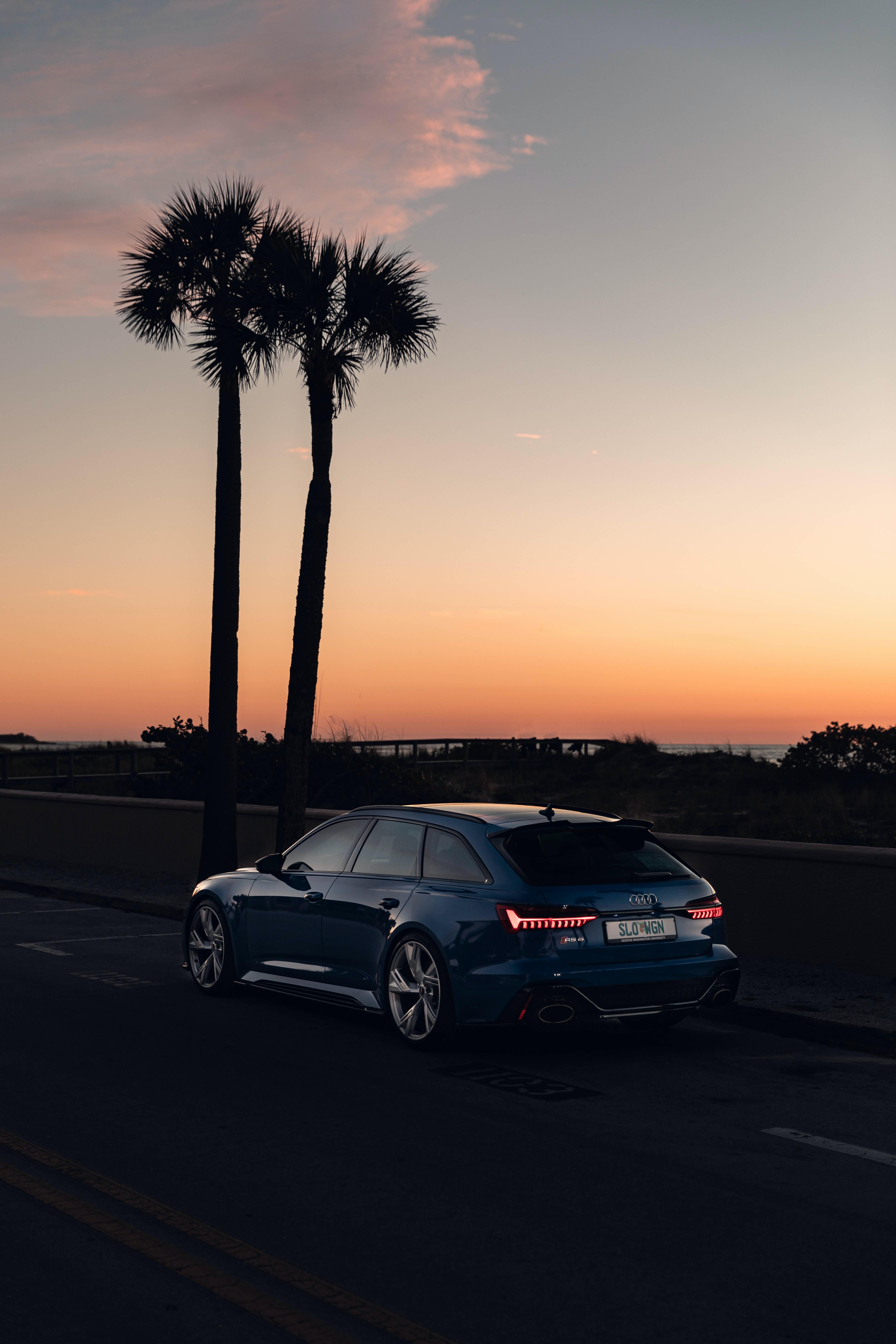90424 скачать обои Ауди (Audi), Пальмы, Тачки (Cars), Дорога, Автомобиль, Синий, Сумерки - заставки и картинки бесплатно
