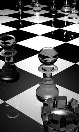 82876 скачать обои 3D, Доска, Стекло, Чб, Поверхность, Шахматы - заставки и картинки бесплатно