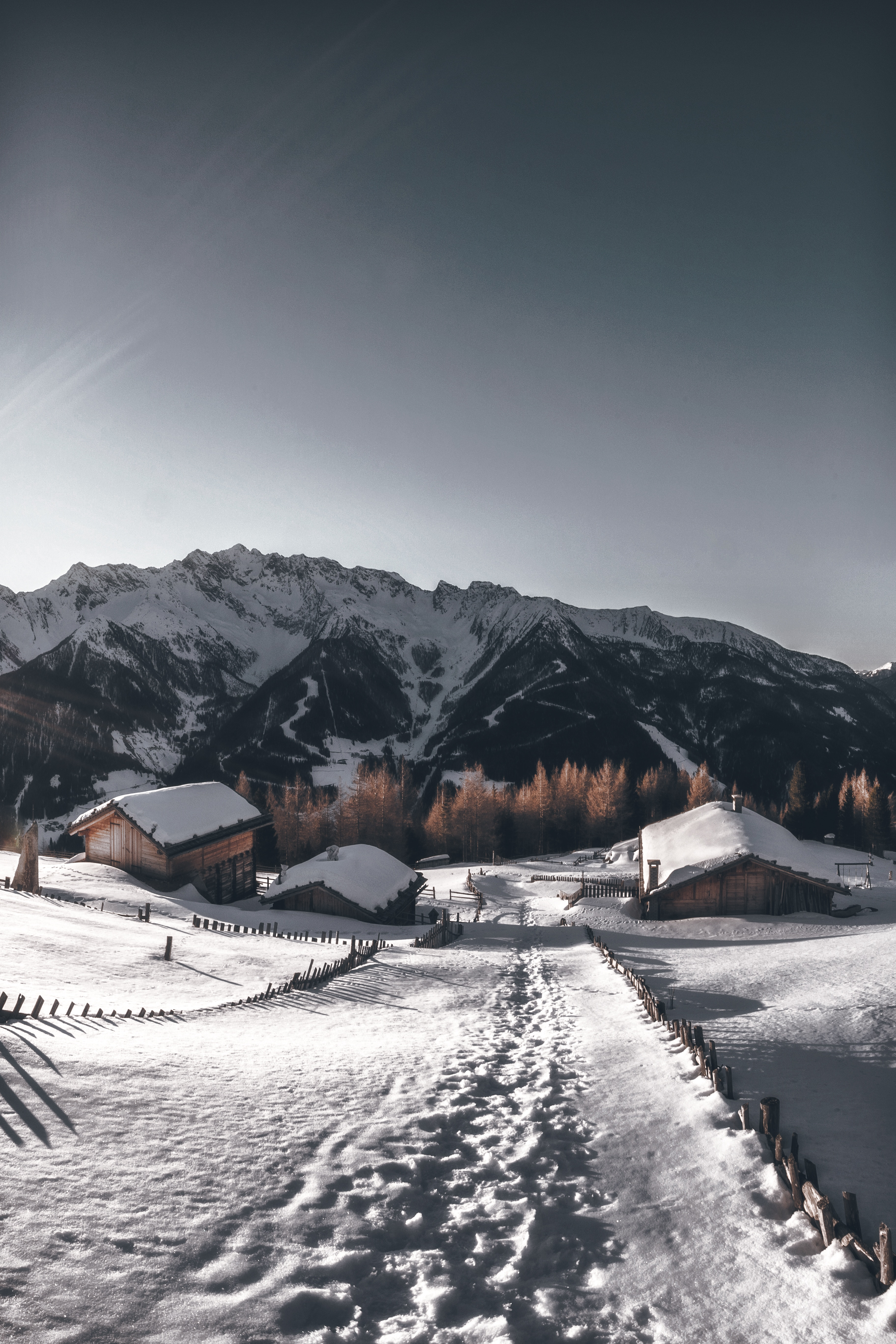 154448 download wallpaper Nature, Village, Winter, Snow, Path, Mountains screensavers and pictures for free