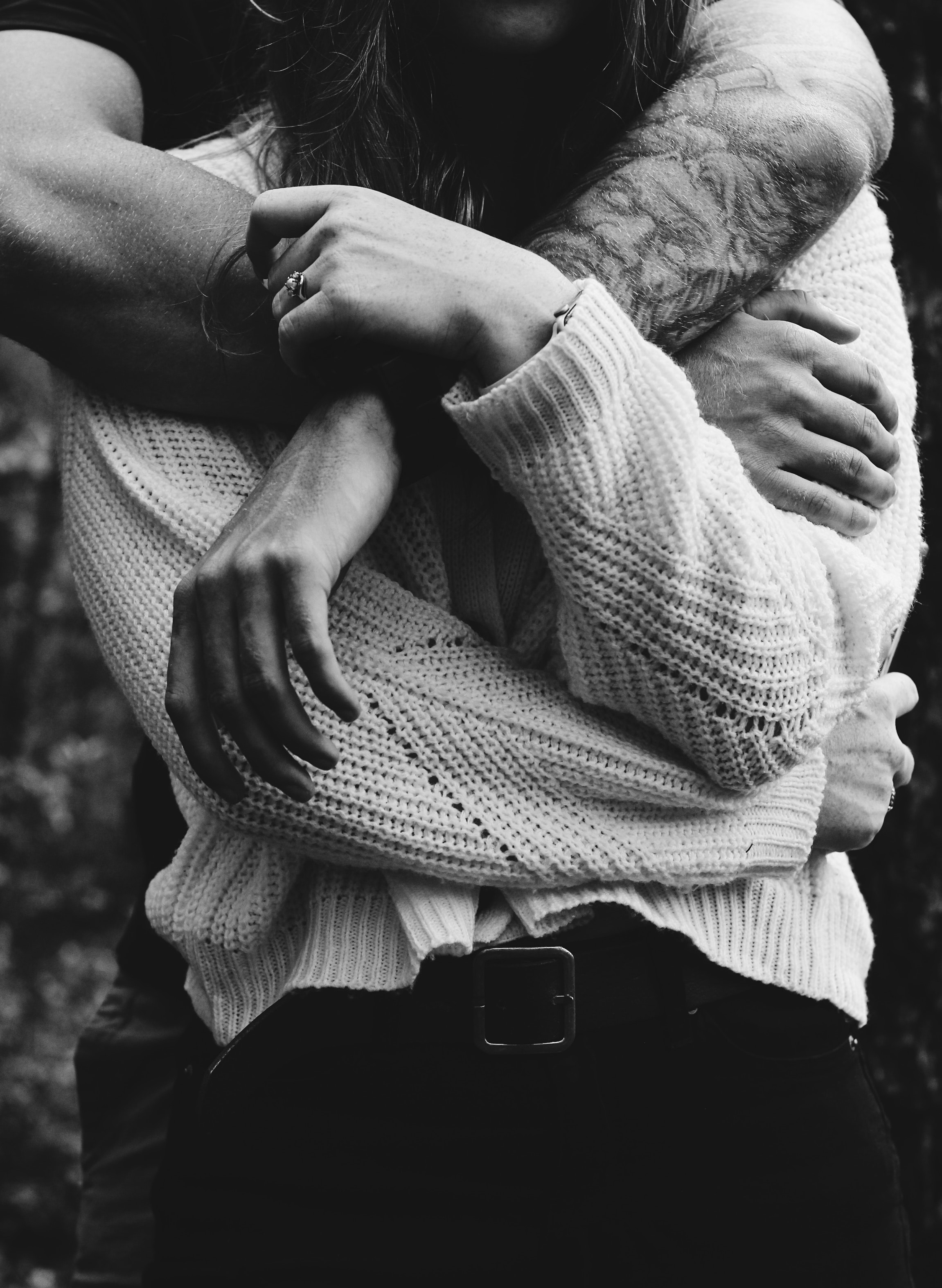 69736 download wallpaper Couple, Love, Pair, Hands, Bw, Chb, Embrace screensavers and pictures for free
