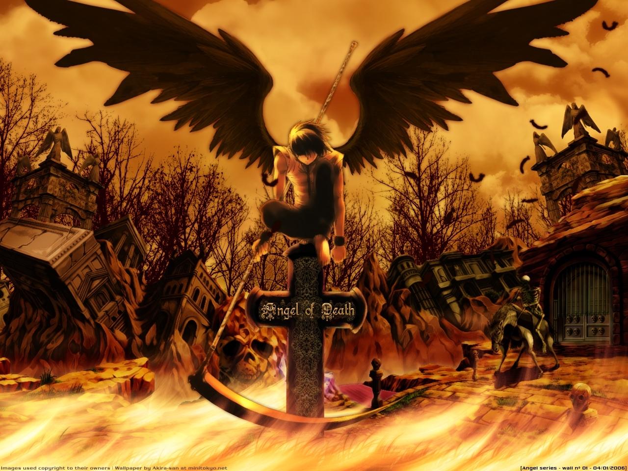 26522 скачать обои Аниме, Мужчины, Смерть, Ангелы - заставки и картинки бесплатно