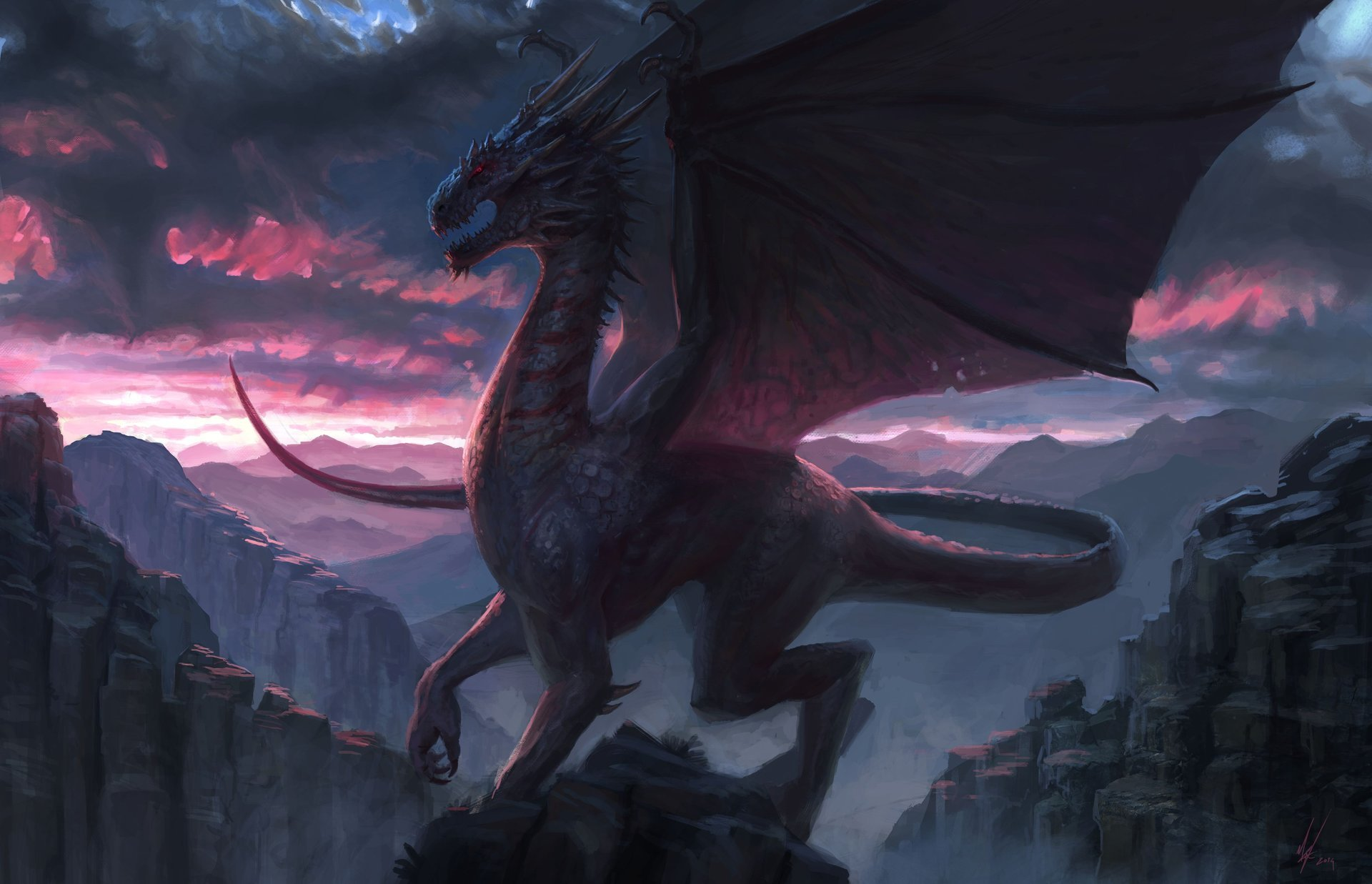 113503 download wallpaper Dragon, Rock, Fantasy, Art screensavers and pictures for free
