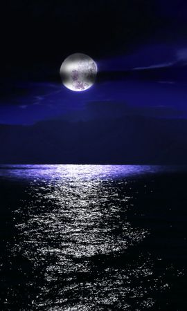 34374 завантажити шпалери Пейзаж, Море, Ніч, Місяць - заставки і картинки безкоштовно