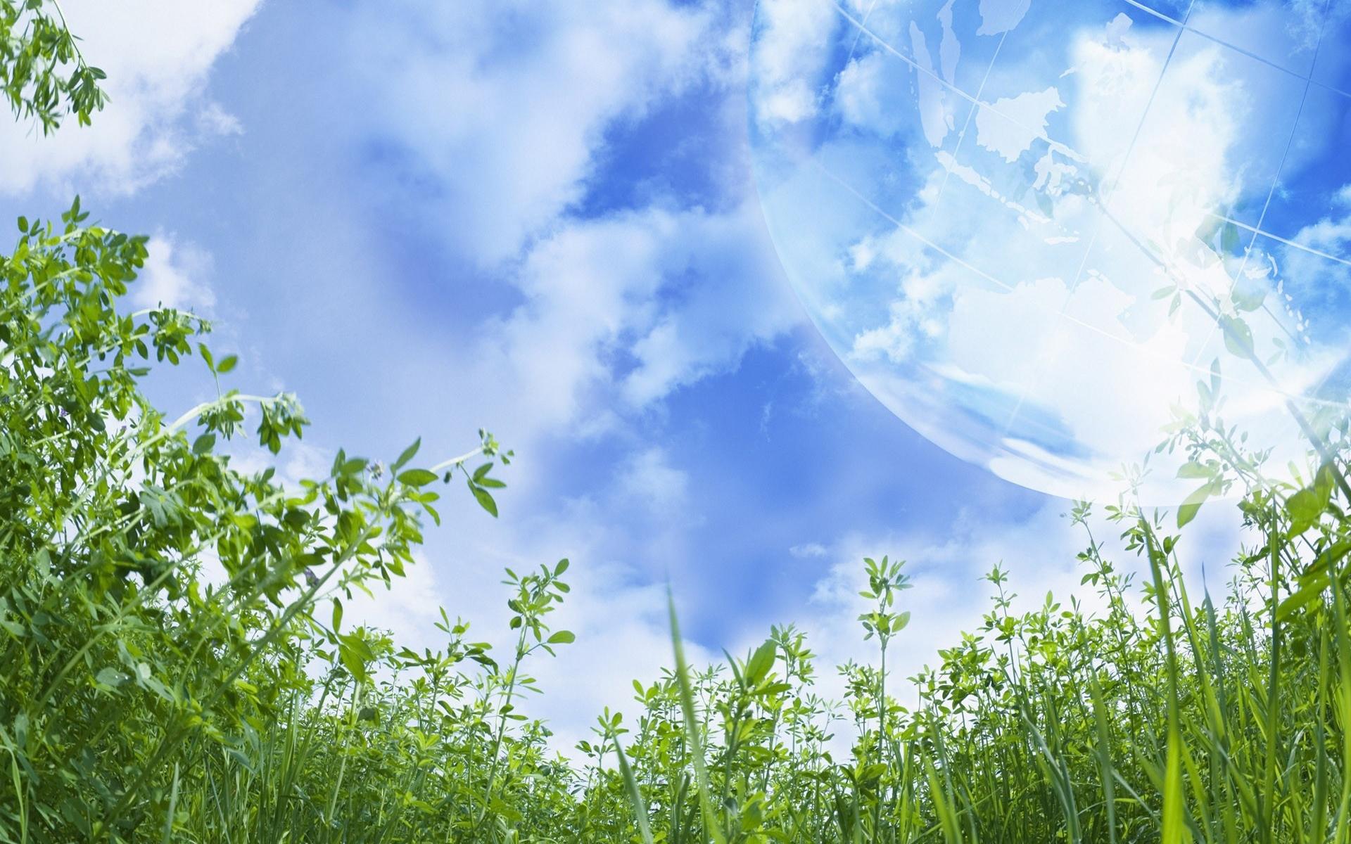 4450 скачать обои Пейзаж, Трава, Небо, Планеты - заставки и картинки бесплатно