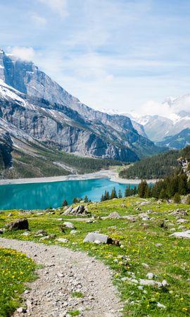 131628 скачать обои Природа, Озеро, Трава, Лето, Горы, Пейзаж - заставки и картинки бесплатно
