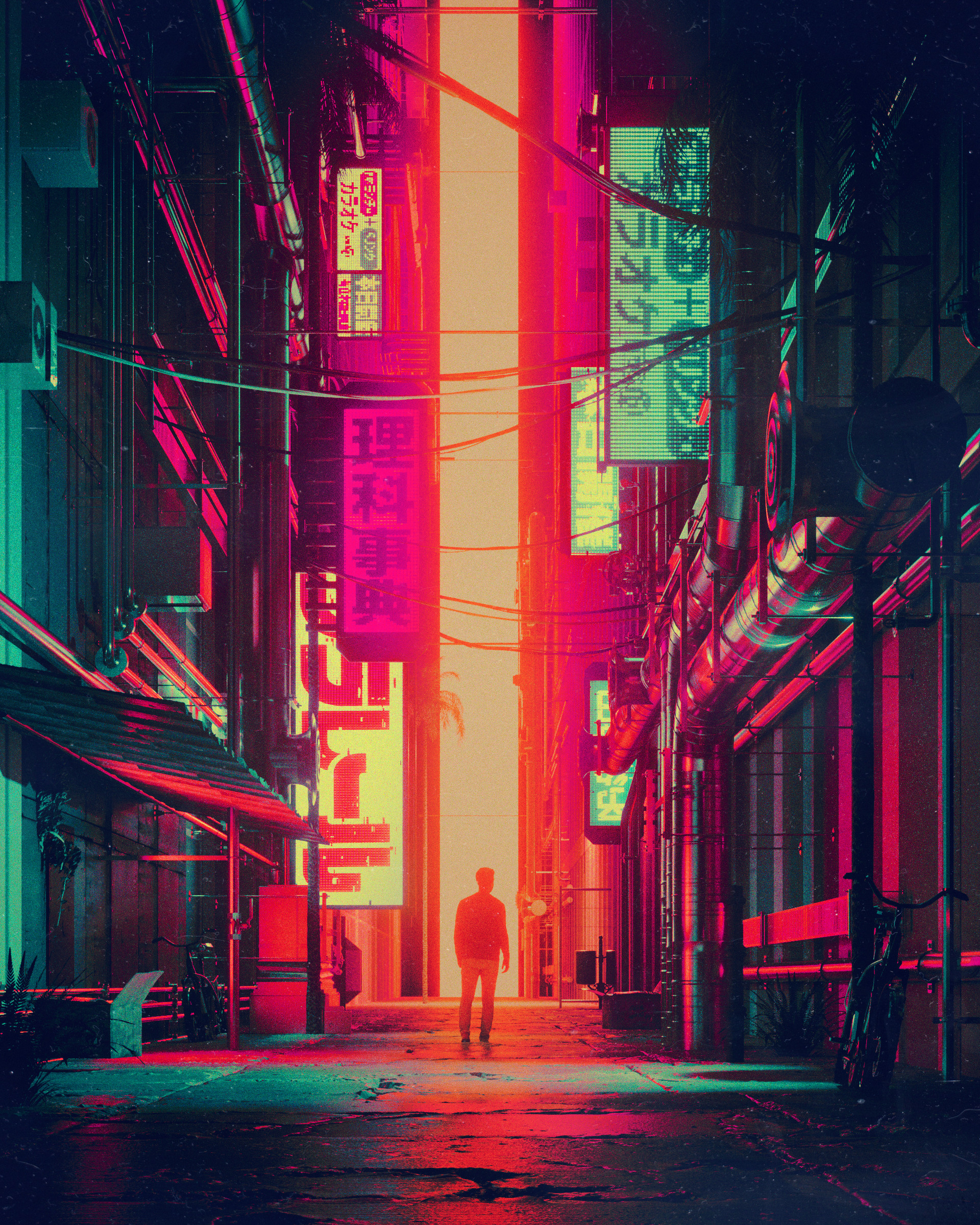 68574 download wallpaper Miscellanea, Silhouette, Miscellaneous, Art, City, Futurism, Street screensavers and pictures for free