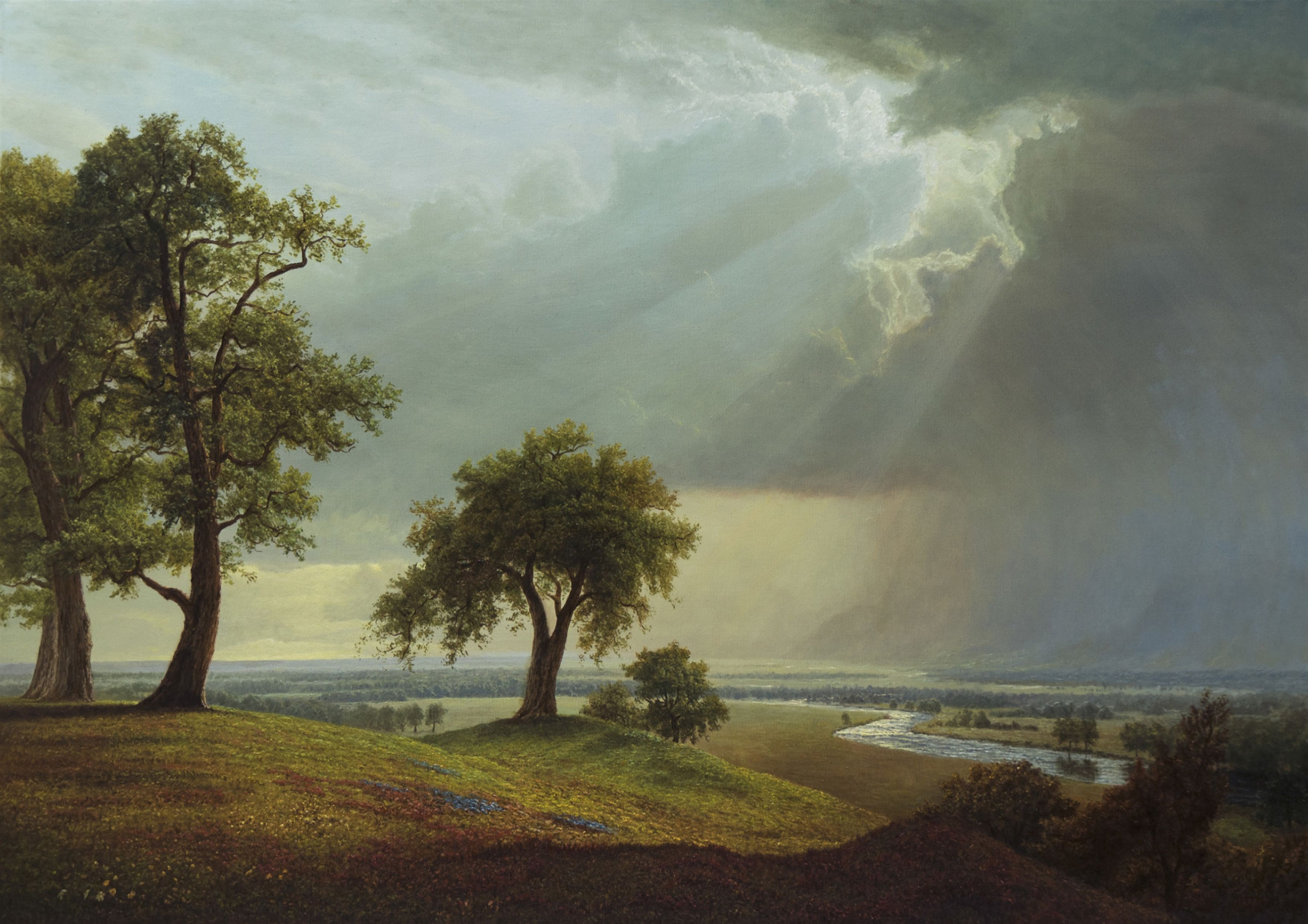 103373 Hintergrundbild herunterladen Grass, Sky, Kunst, Holz, Baum, Feld - Bildschirmschoner und Bilder kostenlos