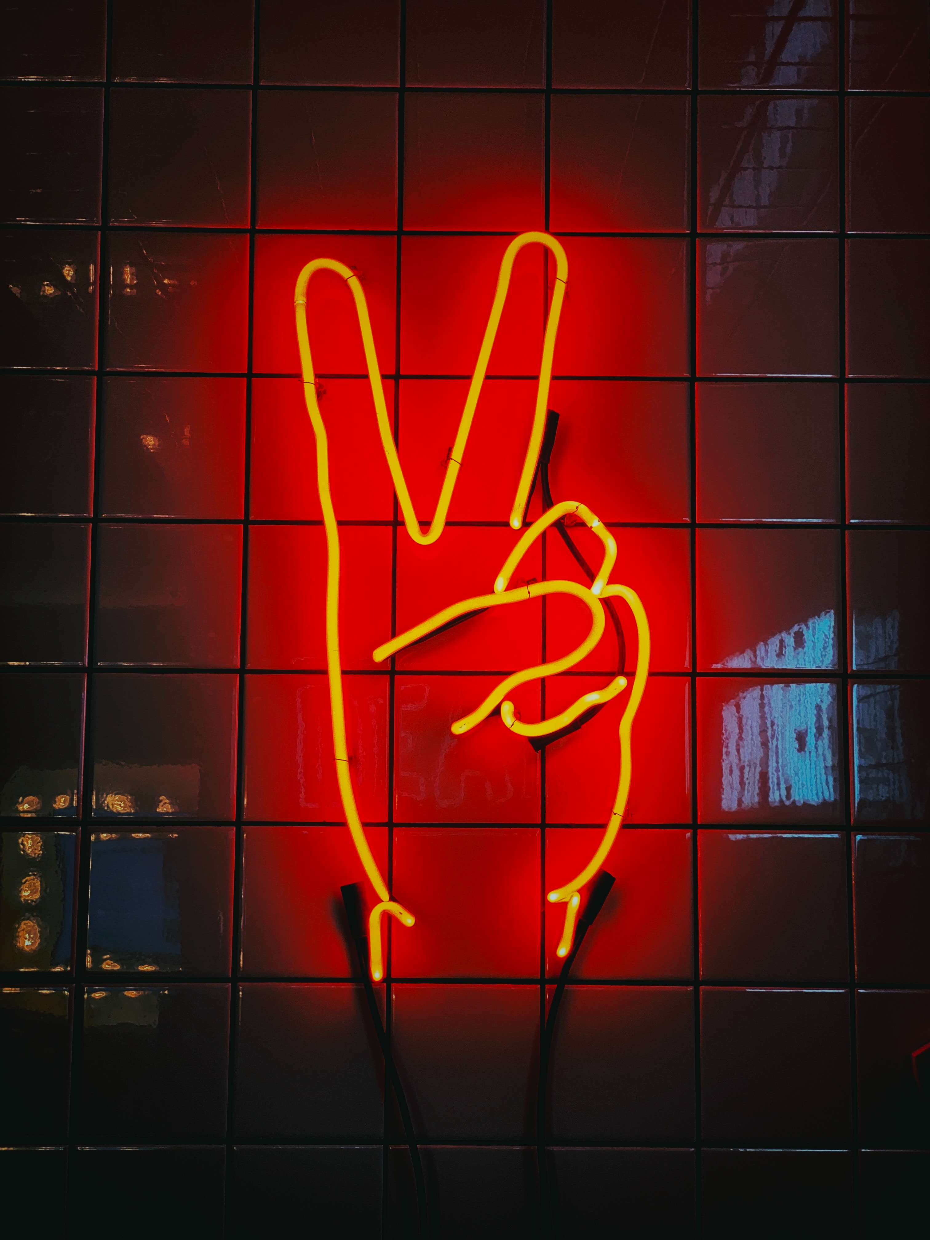 118611 download wallpaper Miscellanea, Miscellaneous, Hand, Gesture, Peace, World, Neon, Signboard, Sign, Glow screensavers and pictures for free