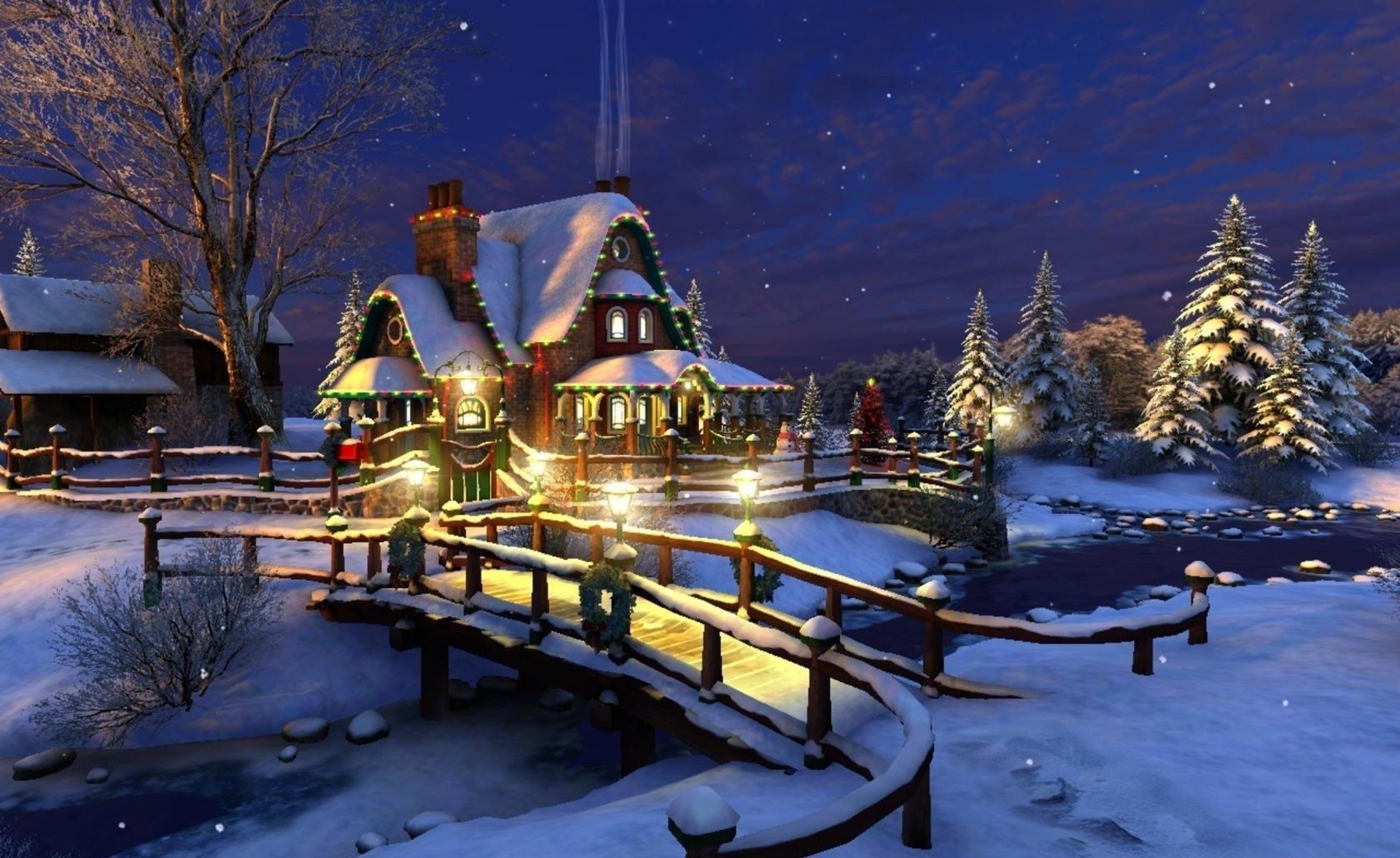 96713 скачать обои Праздники, Дом, Ночь, Снег, Река, Мост, Елки - заставки и картинки бесплатно
