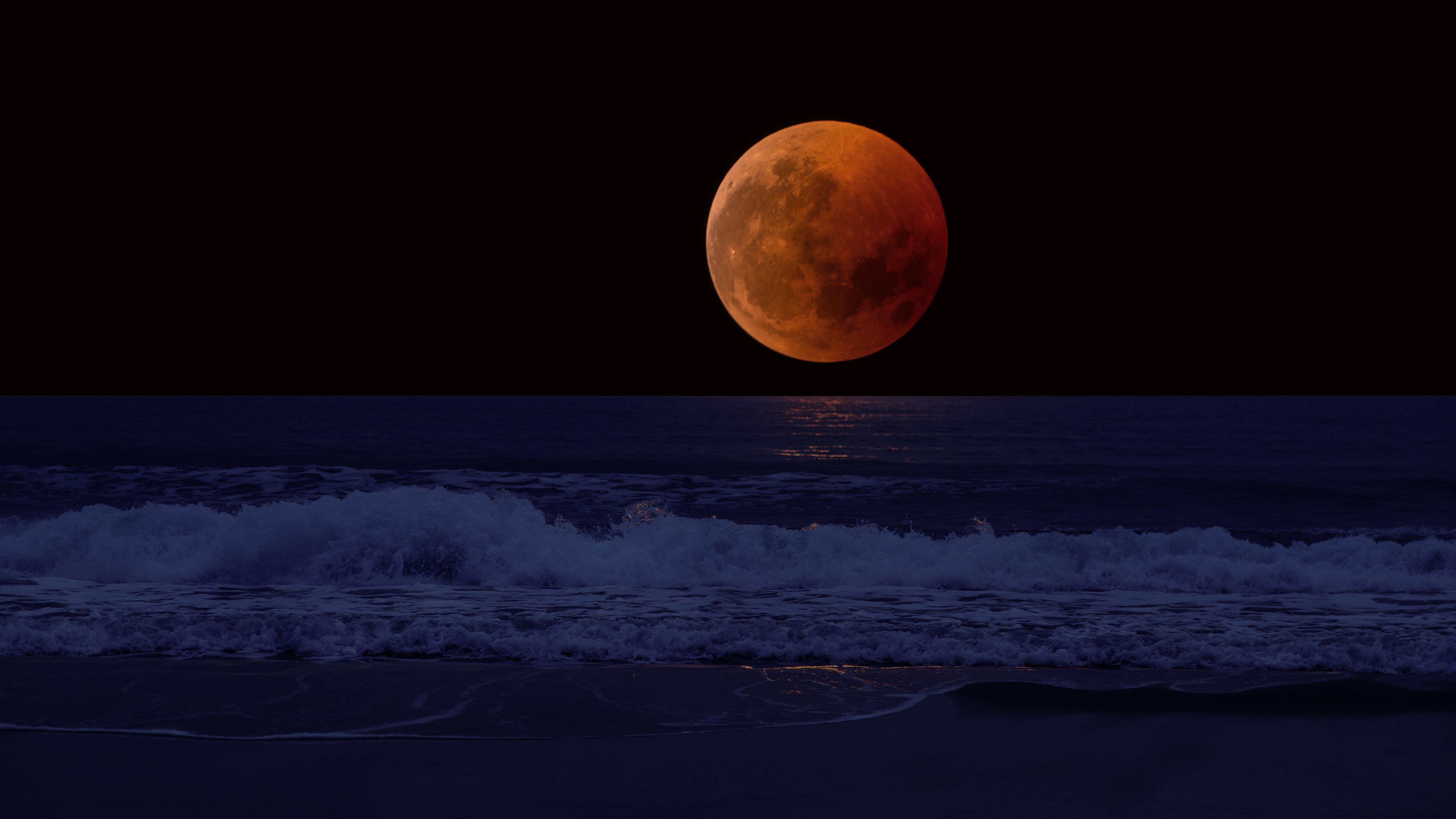 110860 завантажити шпалери Природа, Море, Небокрай, Горизонт, Прибій, Пошуку, Повний Місяць, Затемнення - заставки і картинки безкоштовно