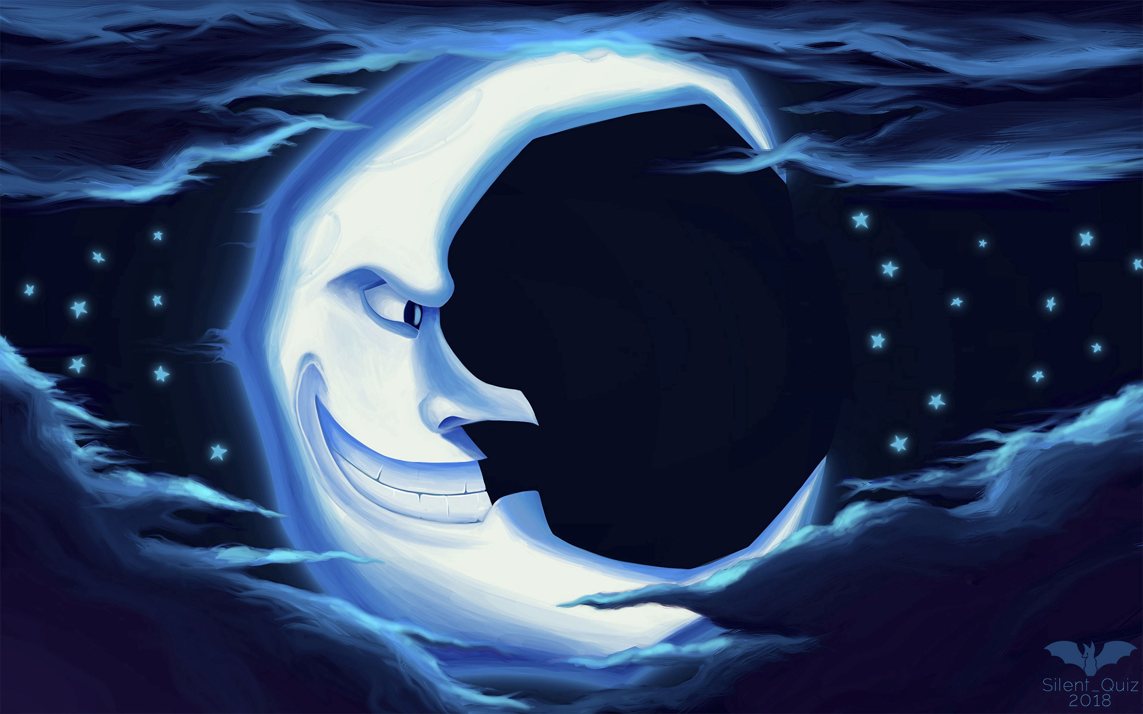 82225 Screensavers and Wallpapers Smile for phone. Download Art, Stars, Night, Moon, Smile pictures for free
