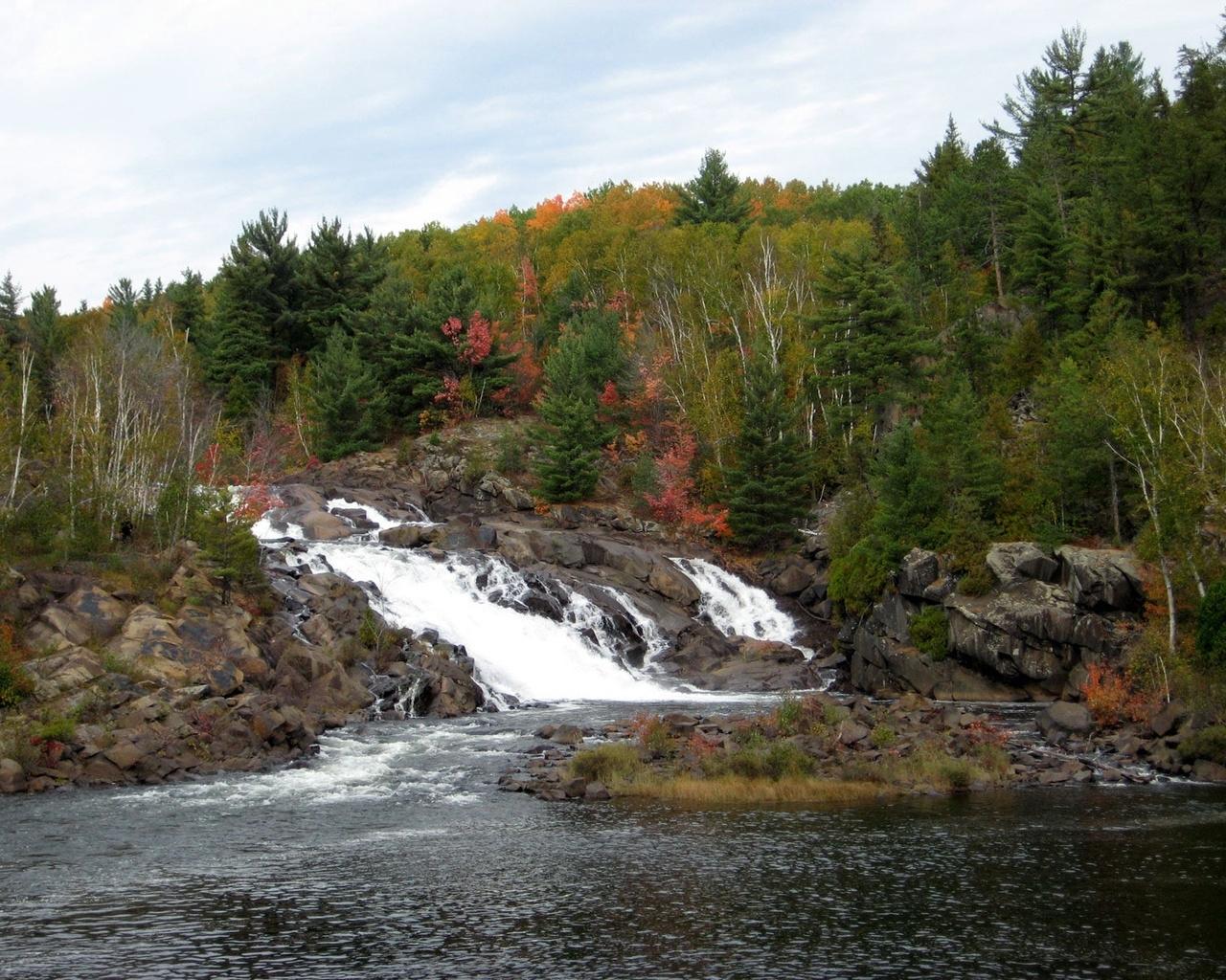 8823 скачать обои Пейзаж, Река, Деревья, Водопады - заставки и картинки бесплатно
