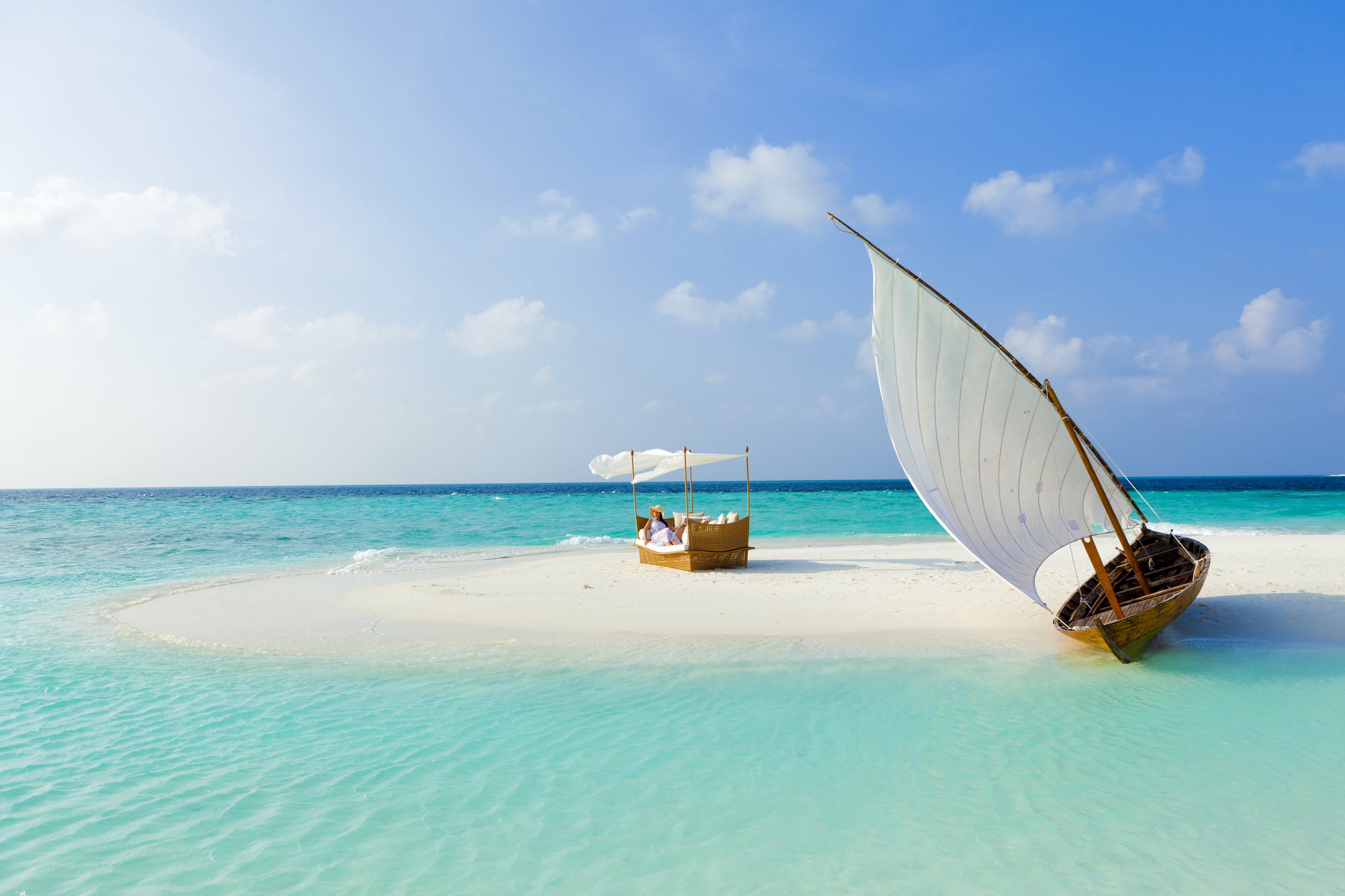 154381 Screensavers and Wallpapers Island for phone. Download Nature, Sea, Beach, Sand, Summer, Boat, Tropics, Island, Maldives pictures for free