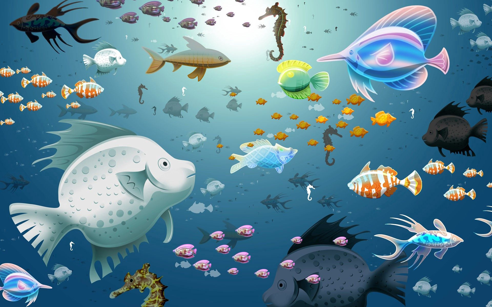 104016 download wallpaper Fishes, Texture, Textures, Picture, Drawing, Underwater World screensavers and pictures for free