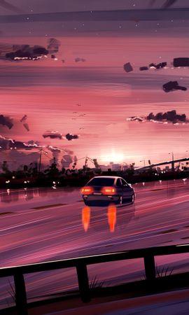 72461 baixar papel de parede Carro, Estrada, Caminho, Pôr Do Sol, Reflexão, Arte, Roxo, Violeta - protetores de tela e imagens gratuitamente