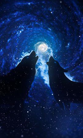 85345 завантажити шпалери Вовки, Силуети, Зоряне Небо, Арт, Фантазія, Фантазії - заставки і картинки безкоштовно