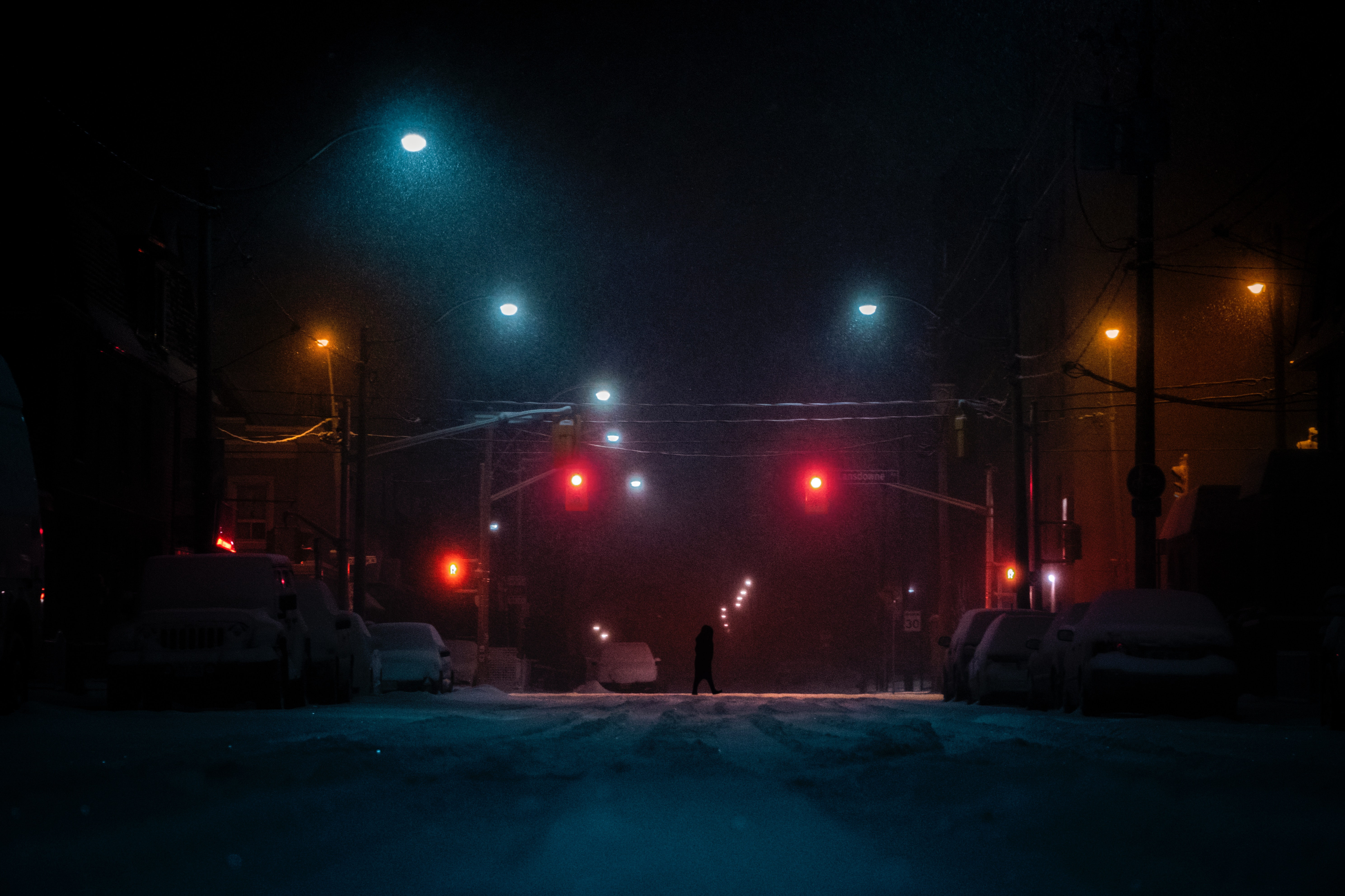 143677 free wallpaper 480x800 for phone, download images Night, Snow, Dark, Silhouette, Street 480x800 for mobile