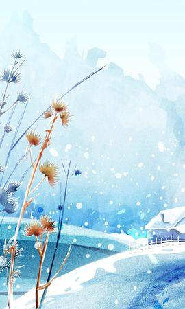 22986 скачать обои Растения, Пейзаж, Зима, Дома, Снег, Рисунки - заставки и картинки бесплатно