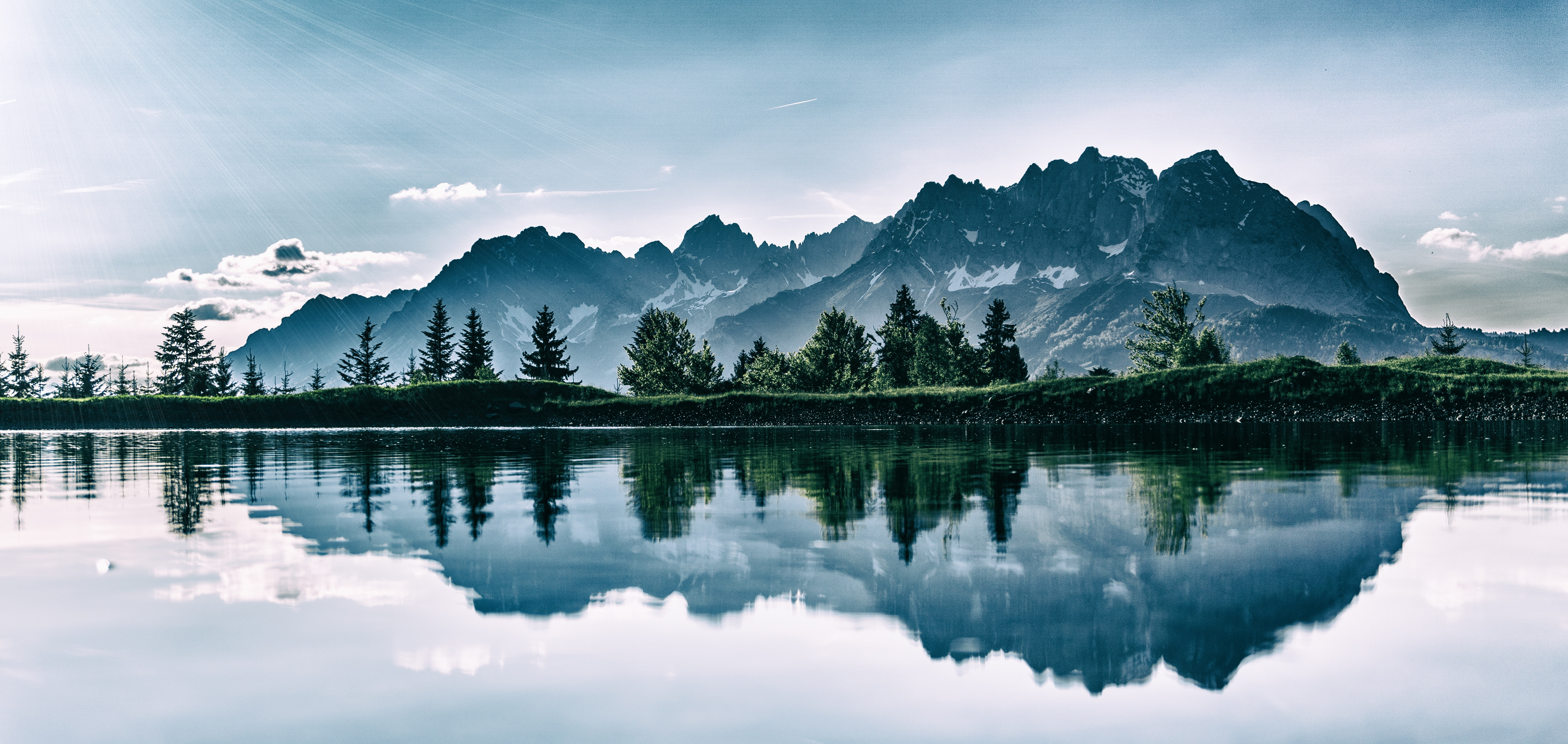 146422 download wallpaper Nature, Mountains, Lake, Reflection, Photoshop screensavers and pictures for free