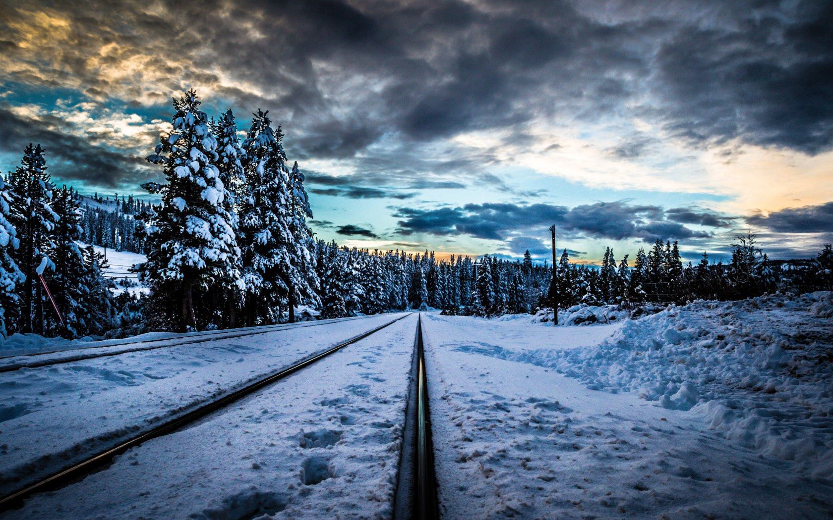 106051 Screensavers and Wallpapers Hdr for phone. Download Winter, Nature, Snow, Railway, Hdr, Rails pictures for free