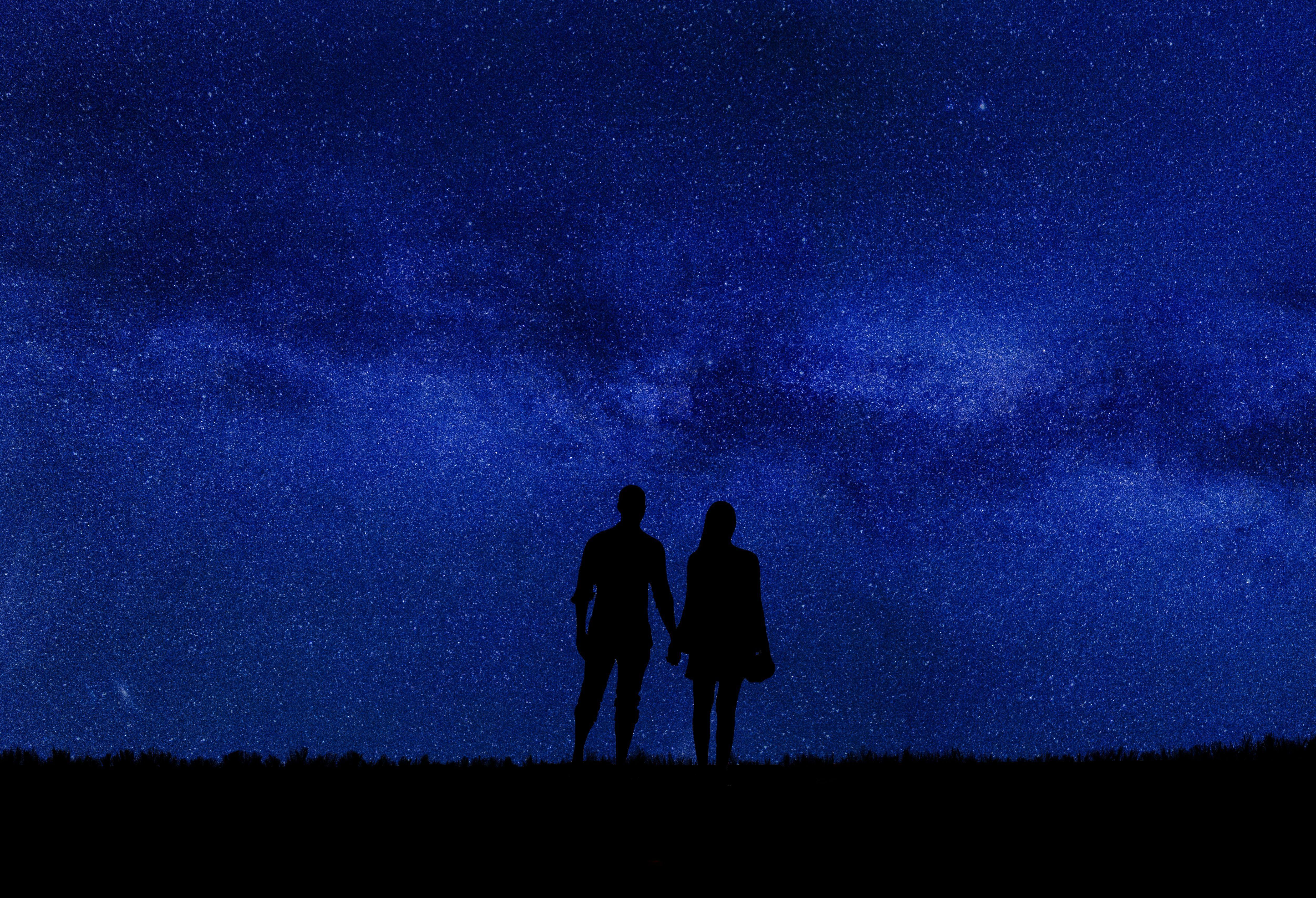 122393 Заставки и Обои Любовь на телефон. Скачать Любовь, Пара, Силуэты, Звездное Небо, Романтика, Ночь картинки бесплатно
