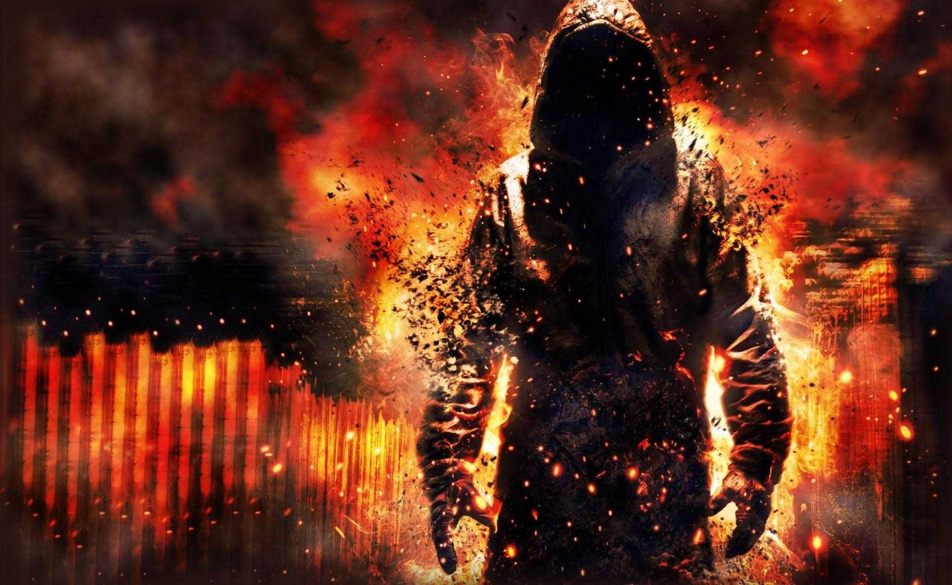 111836 Screensavers and Wallpapers Human for phone. Download Fantasy, Fire, Human, Person, Wreckage, Detritus, Hood, Destruction, Cloak pictures for free