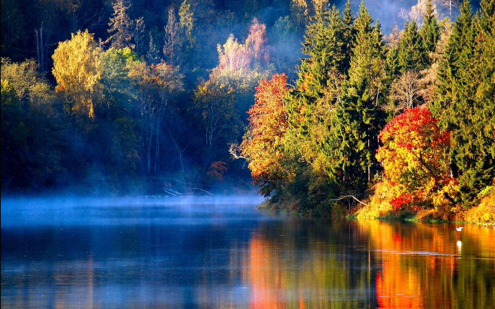 31190 download wallpaper Landscape, Rivers, Trees, Autumn screensavers and pictures for free