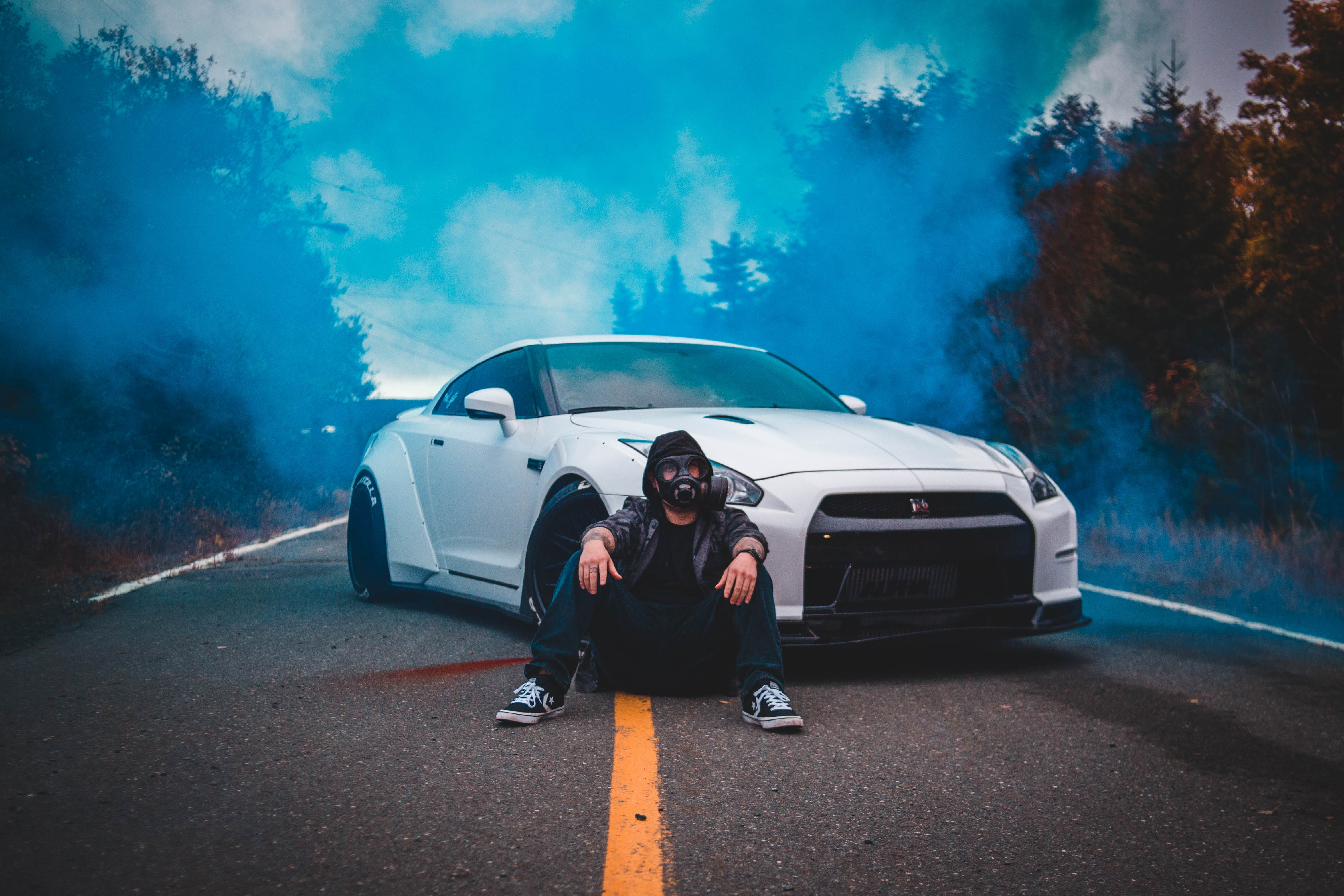 116177 download wallpaper Smoke, Miscellanea, Miscellaneous, Car, Machine, Mask, Gas Mask, Human, Person, Cloud screensavers and pictures for free