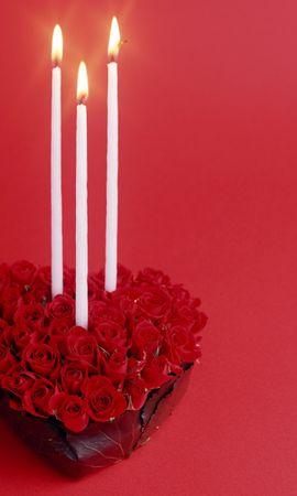 8448 скачать обои Праздники, Розы, Сердца, День Святого Валентина (Valentine's Day), Свечи, Открытки - заставки и картинки бесплатно