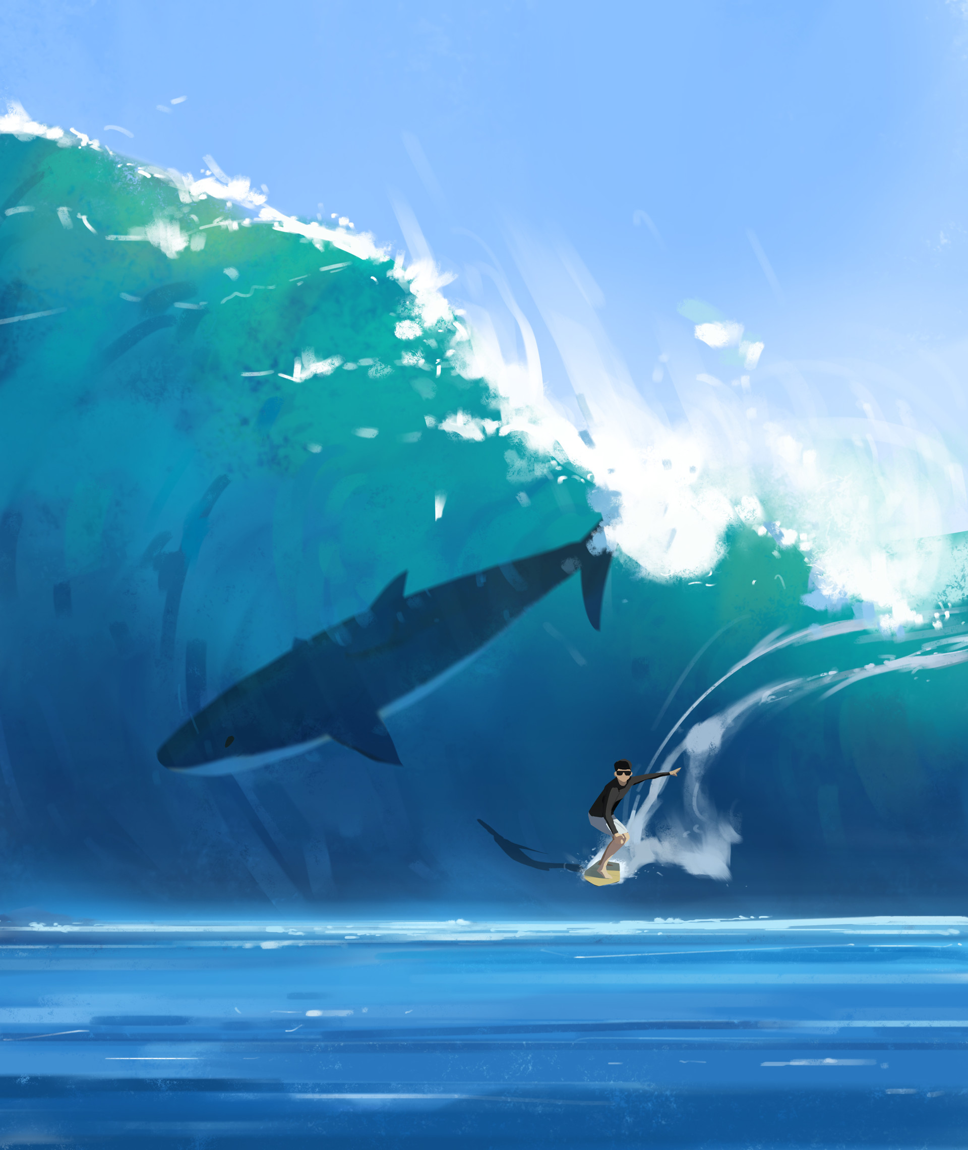 79090 download wallpaper Surfer, Serfing, Shark, Wave, Art screensavers and pictures for free