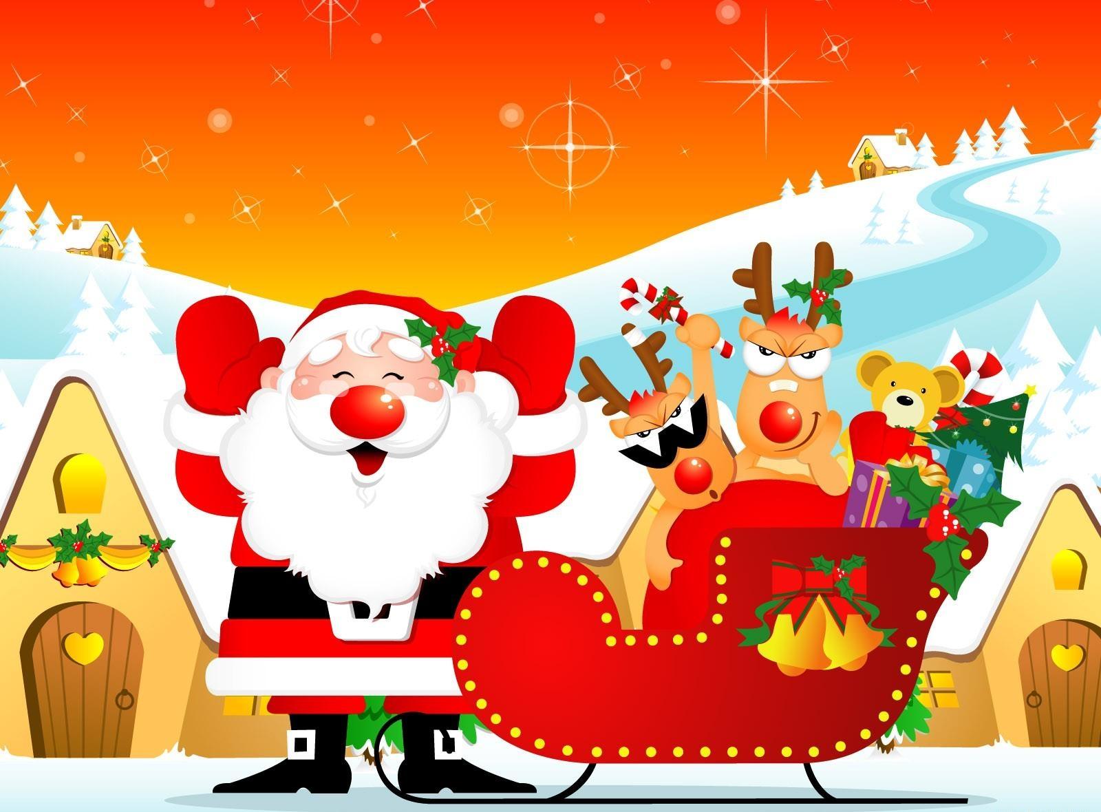 65107 descargar fondo de pantalla Vacaciones, Papá Noel, Ciervos, Trineo, Presenta, Regalos, Casas, Día Festivo, Navidad: protectores de pantalla e imágenes gratis