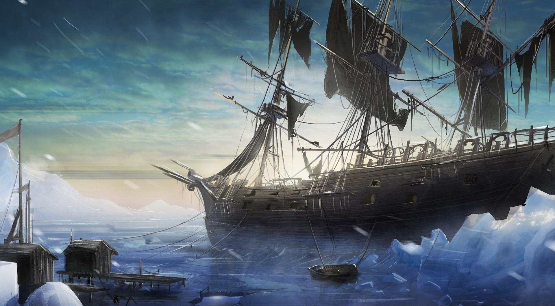 135706 скачать обои Фэнтези, Корабль, Море, Причал, Льды, Снег - заставки и картинки бесплатно