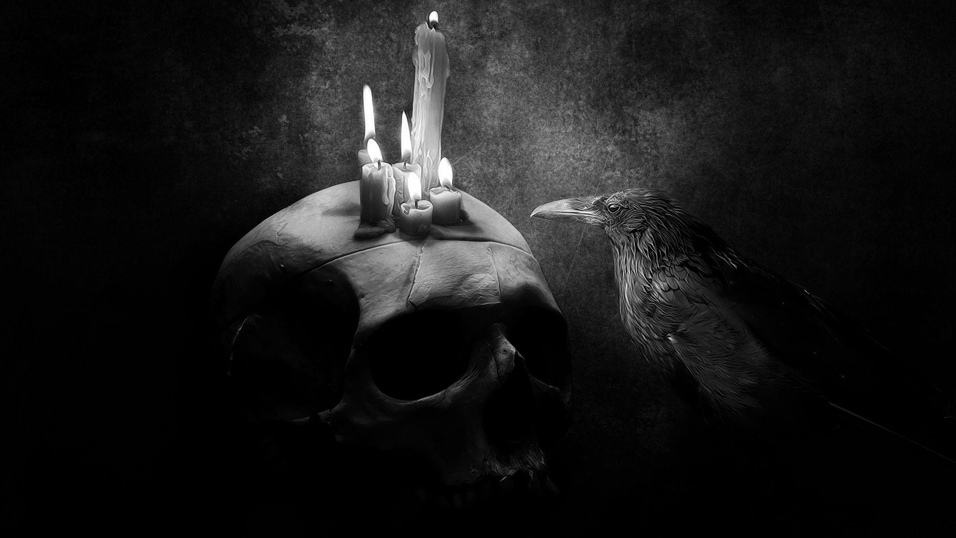 手機的150362屏保和壁紙黑暗。 免費下載 黑暗的, 黑暗, 乌鸦, 鸟, 图片, 图 10, 颅骨, 骷髅, 蜡烛 圖片