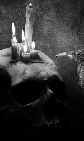 150362 baixar papel de parede Escuro, Corvo, Pássaro, Foto, Desenho, Crânio, Vela - protetores de tela e imagens gratuitamente