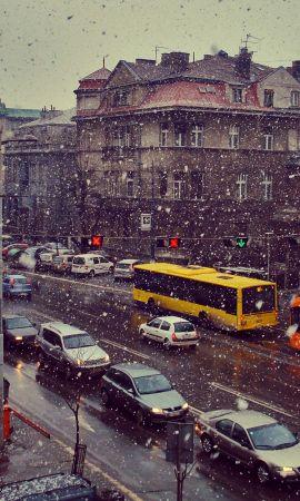 76634 descargar fondo de pantalla Ciudad, Transporte, Cielo, Nieve, Ciudades: protectores de pantalla e imágenes gratis