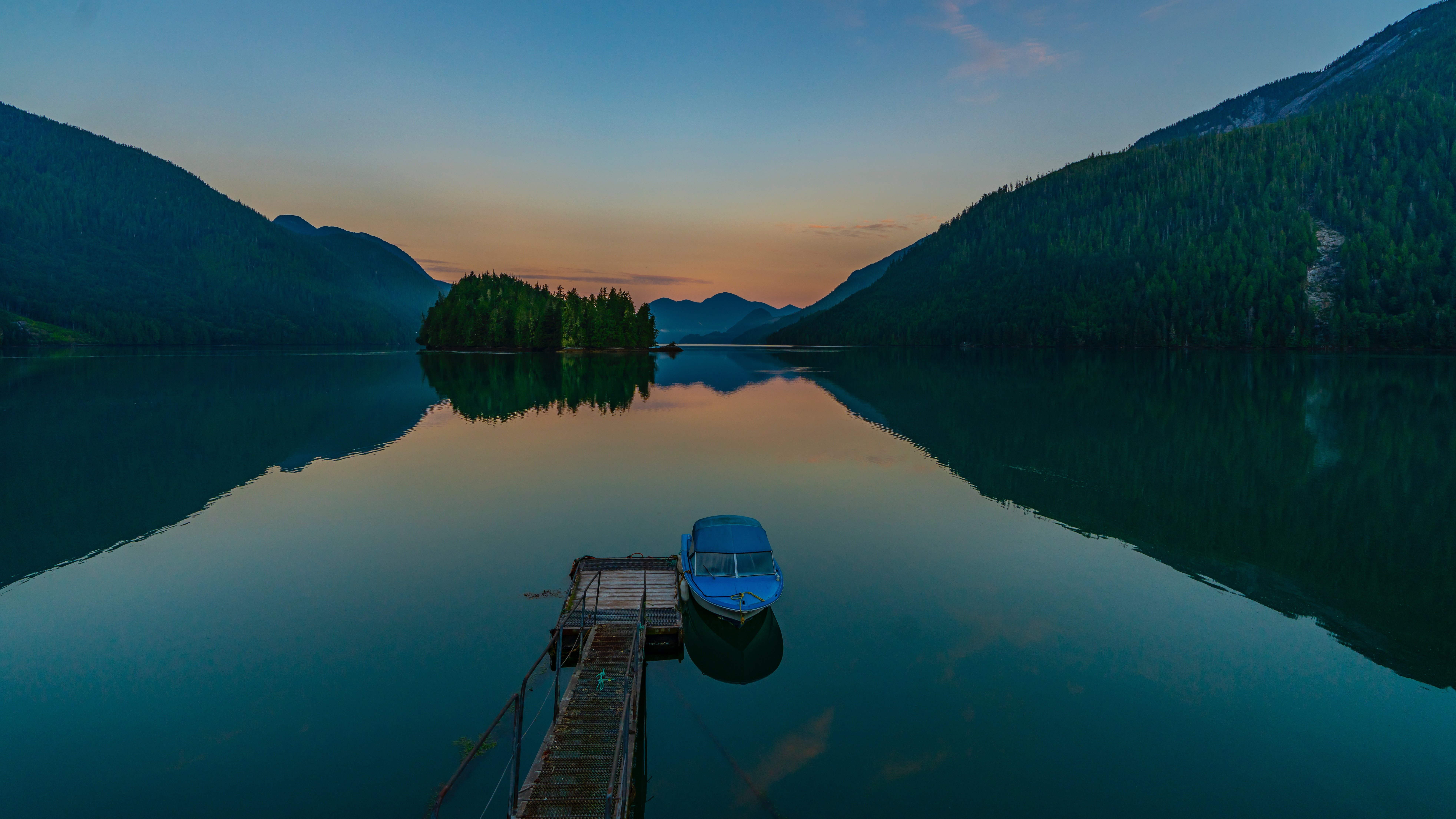 80389 Screensavers and Wallpapers Boat for phone. Download Lake, Nature, Mountains, Twilight, Dusk, Boat, Wharf, Berth pictures for free