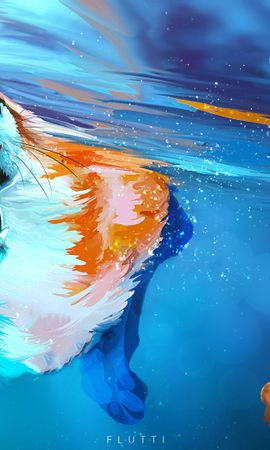 83086 download wallpaper Fox, Protruding Tongue, Tongue Stuck Out, Water, Under Water, Underwater, To Swim, Swim, Art screensavers and pictures for free