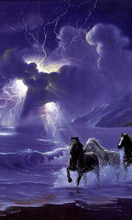 13765 завантажити шпалери Тварини, Пейзаж, Небо, Коні, Море, Хмари, Малюнки - заставки і картинки безкоштовно
