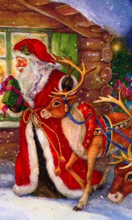 100856 Заставки и Обои Дети на телефон. Скачать Праздники, Санта Клаус, Олени, Окно, Дети, Подарки, Праздник, Рождество, Птицы картинки бесплатно