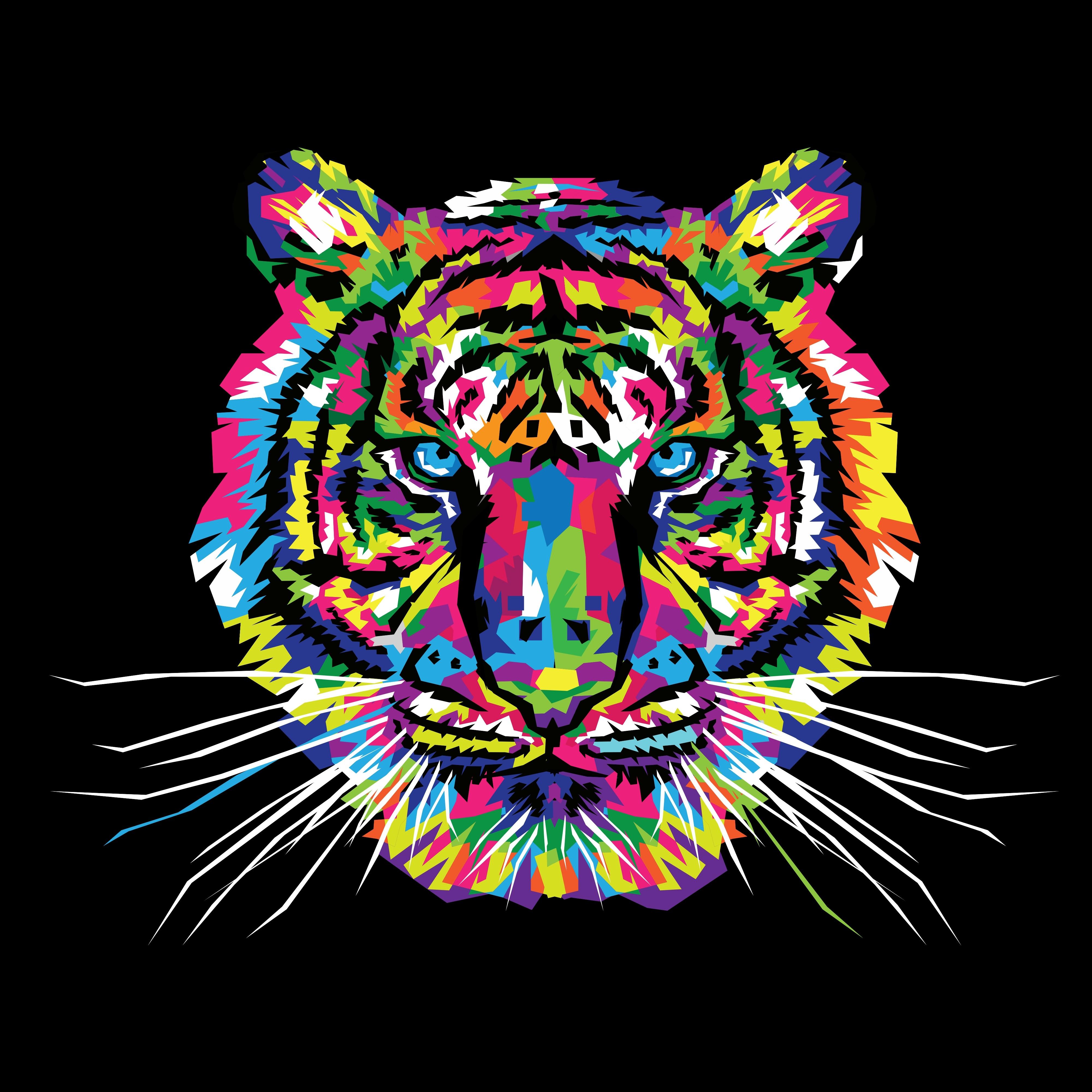 84411 Hintergrundbild herunterladen Vektor, Kunst, Mehrfarbig, Motley, Tiger, Ornament - Bildschirmschoner und Bilder kostenlos